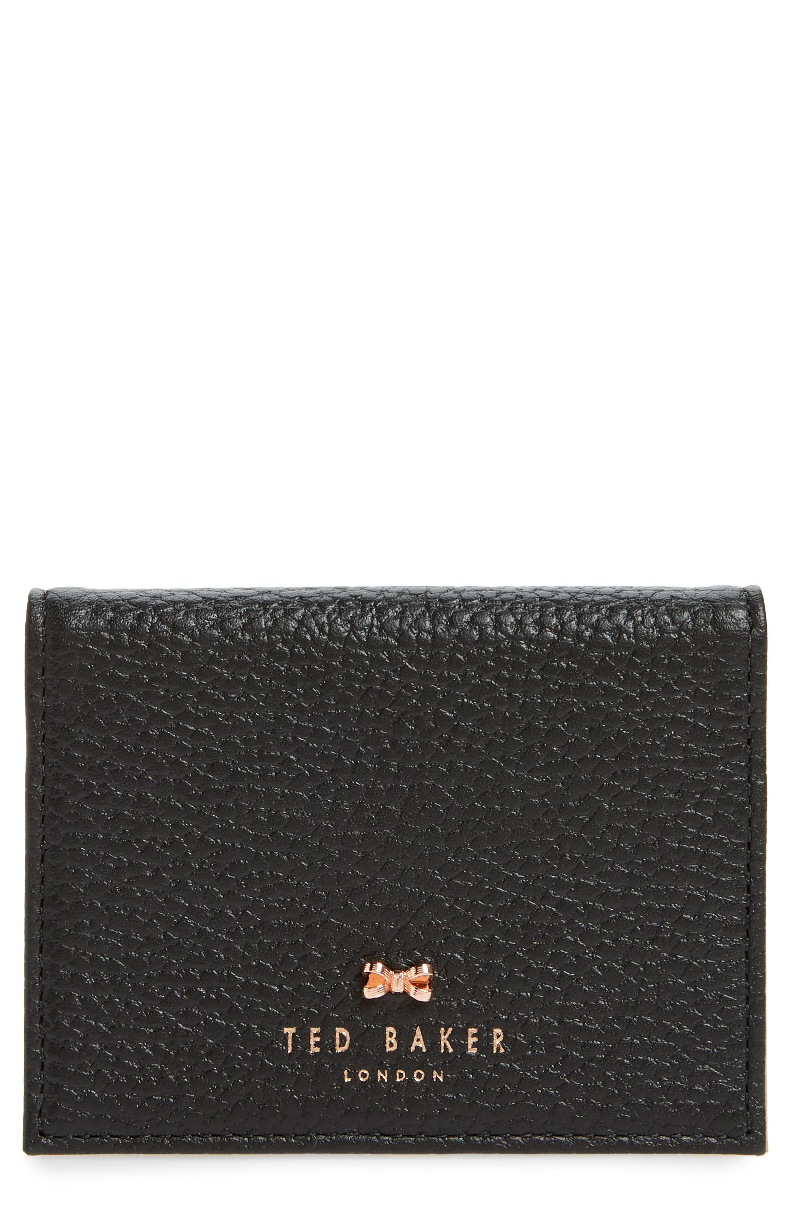 TED BAKER LONDON,                             Edyth Leather Cardholder with Mirror,                             Main thumbnail 1, color,                             001