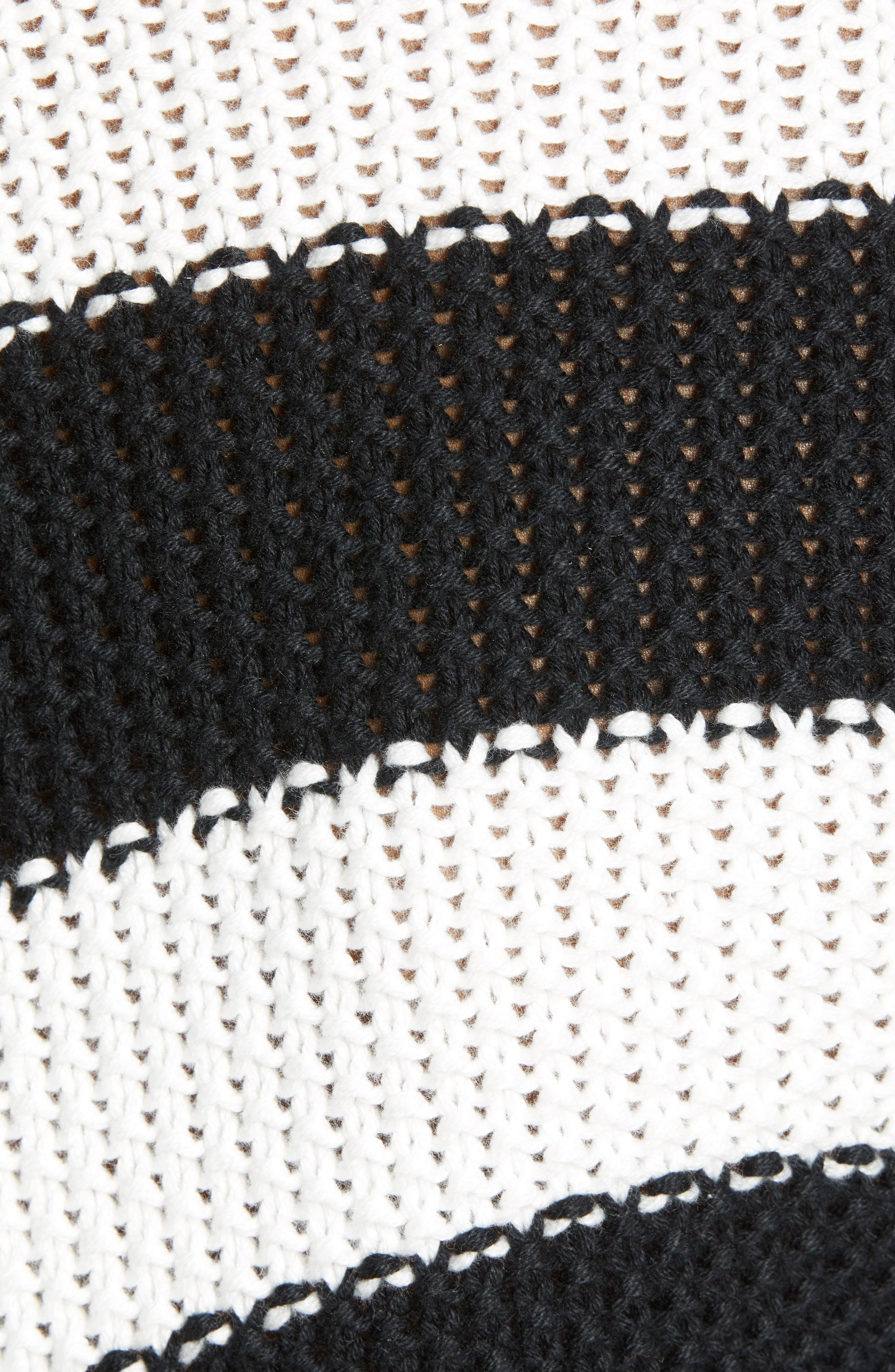 Stitch Stripe Sweater,                             Alternate thumbnail 5, color,                             BLACK- IVORY GABRIELLA STRIPE