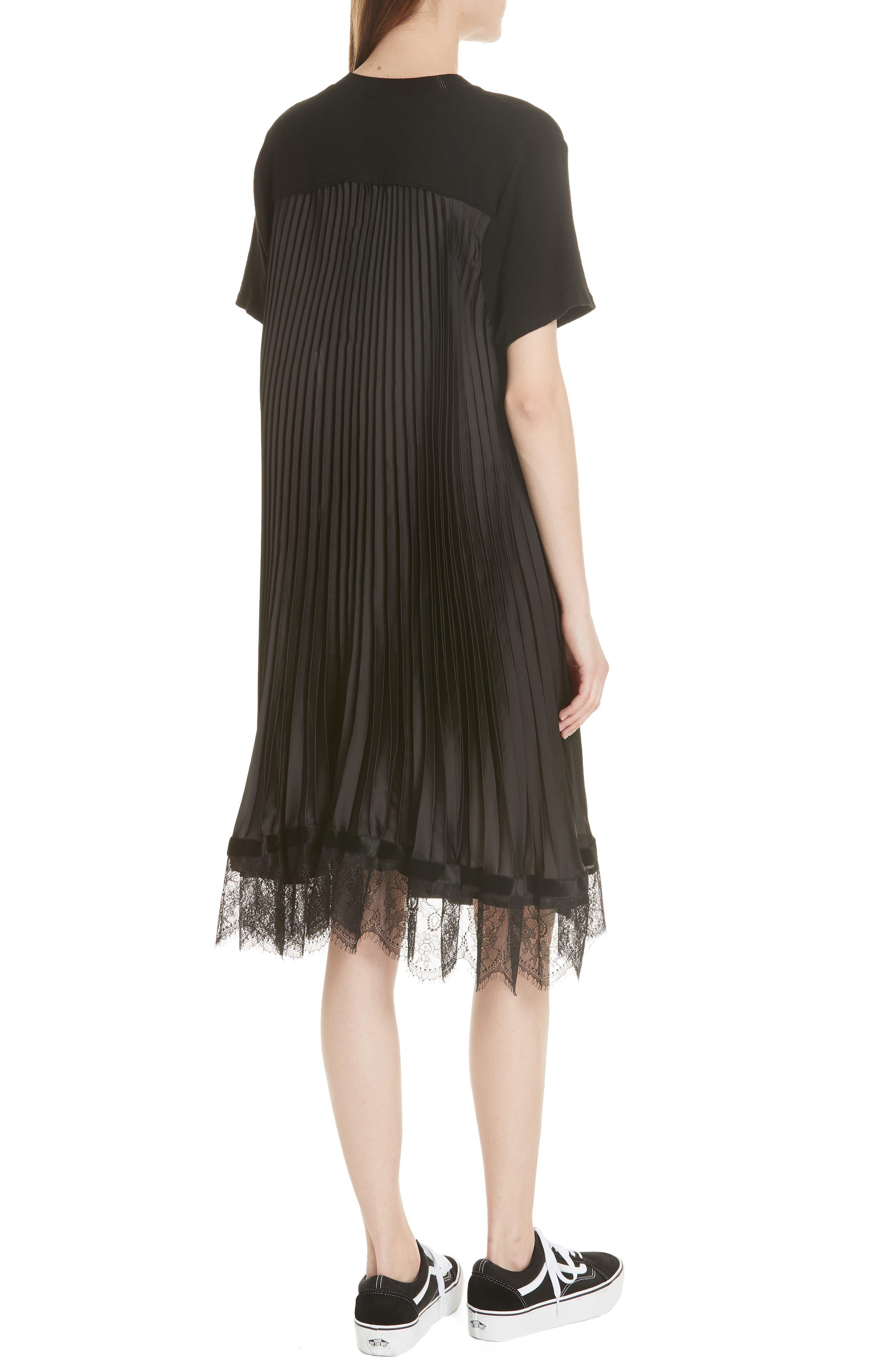 Pleat Back Midi Dress,                             Alternate thumbnail 2, color,                             001