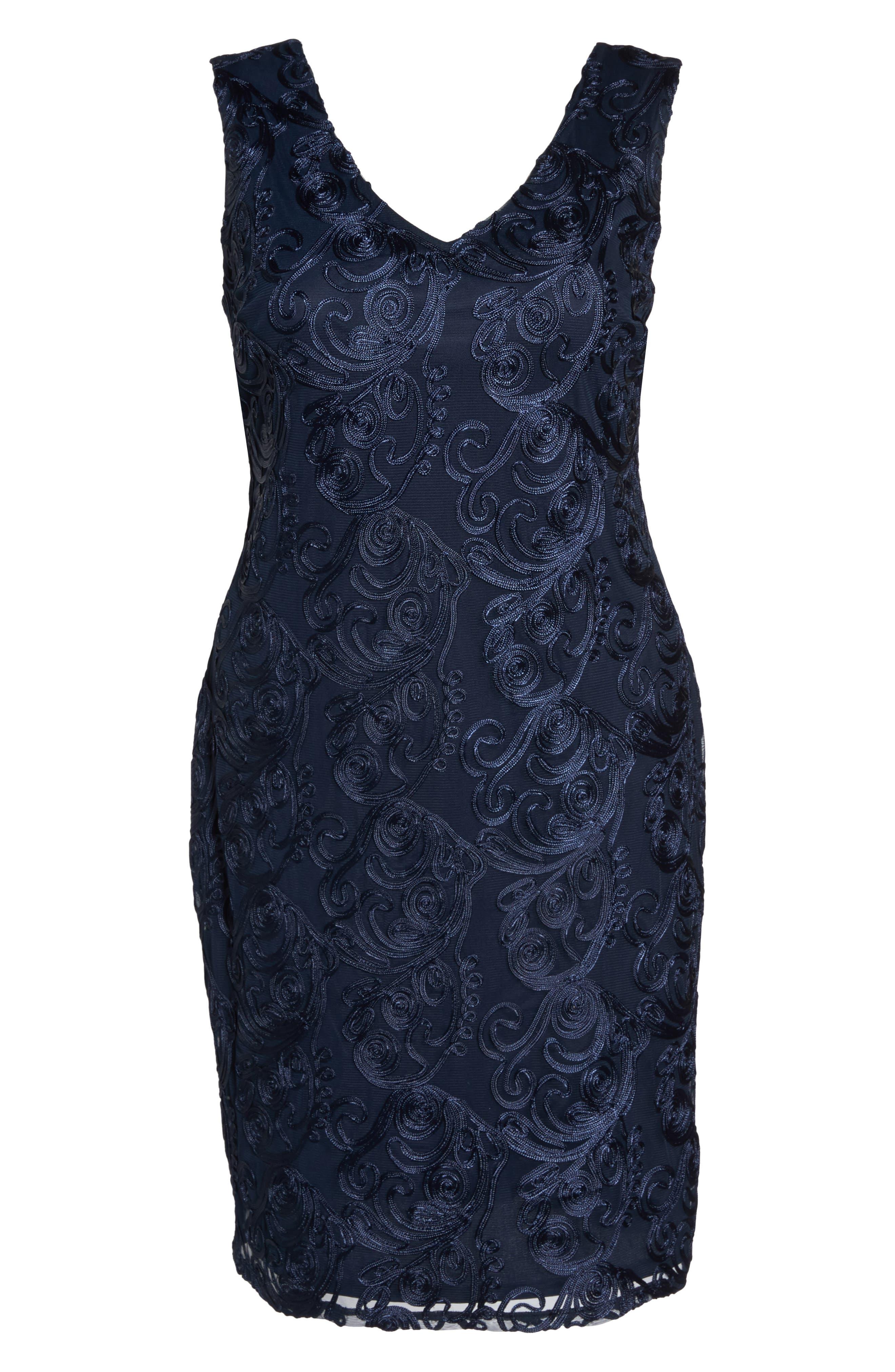 Soutache Sheath Dress,                             Alternate thumbnail 6, color,                             400