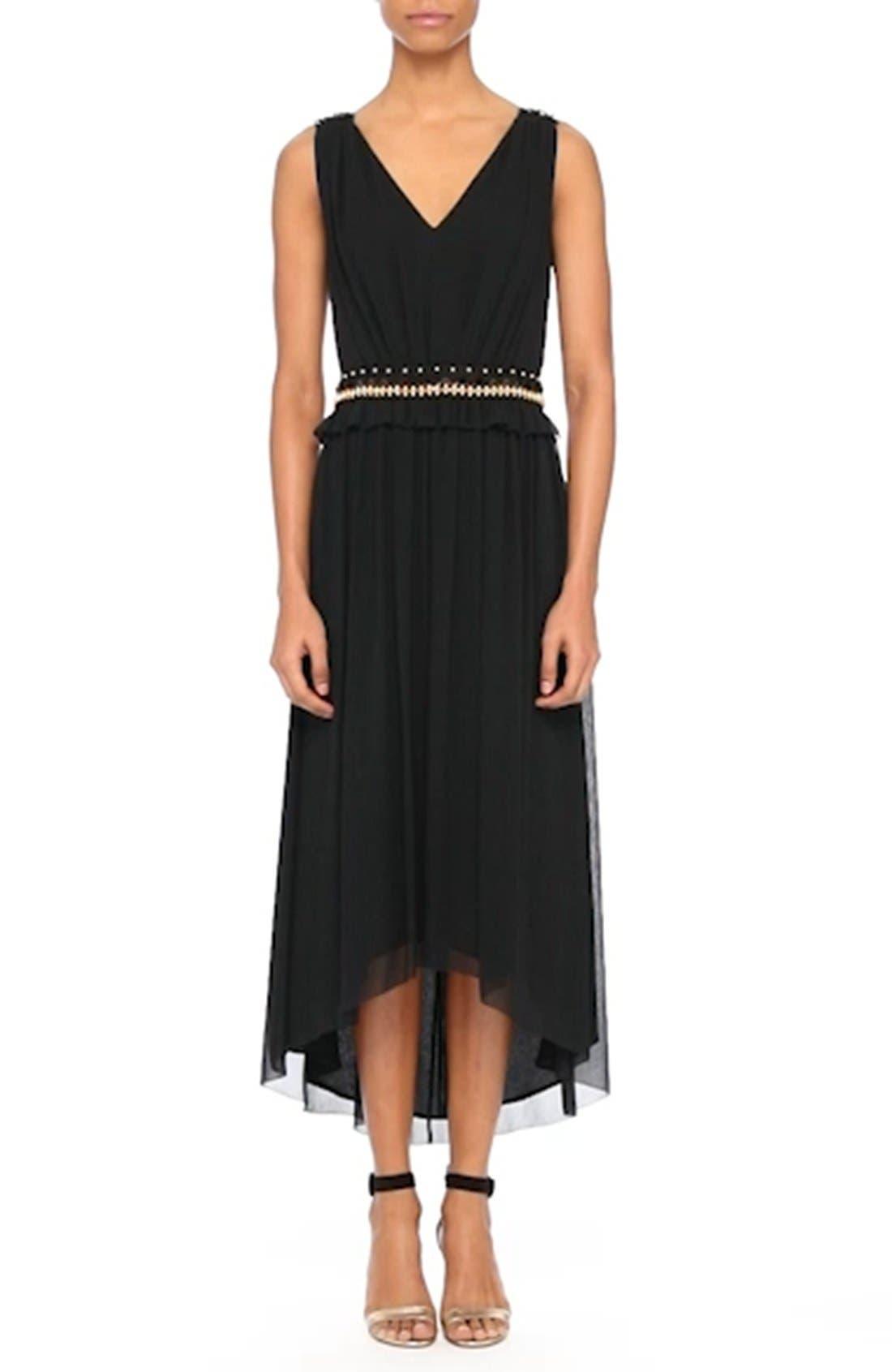 Crinkled Silk Georgette Dress,                             Alternate thumbnail 7, color,                             001