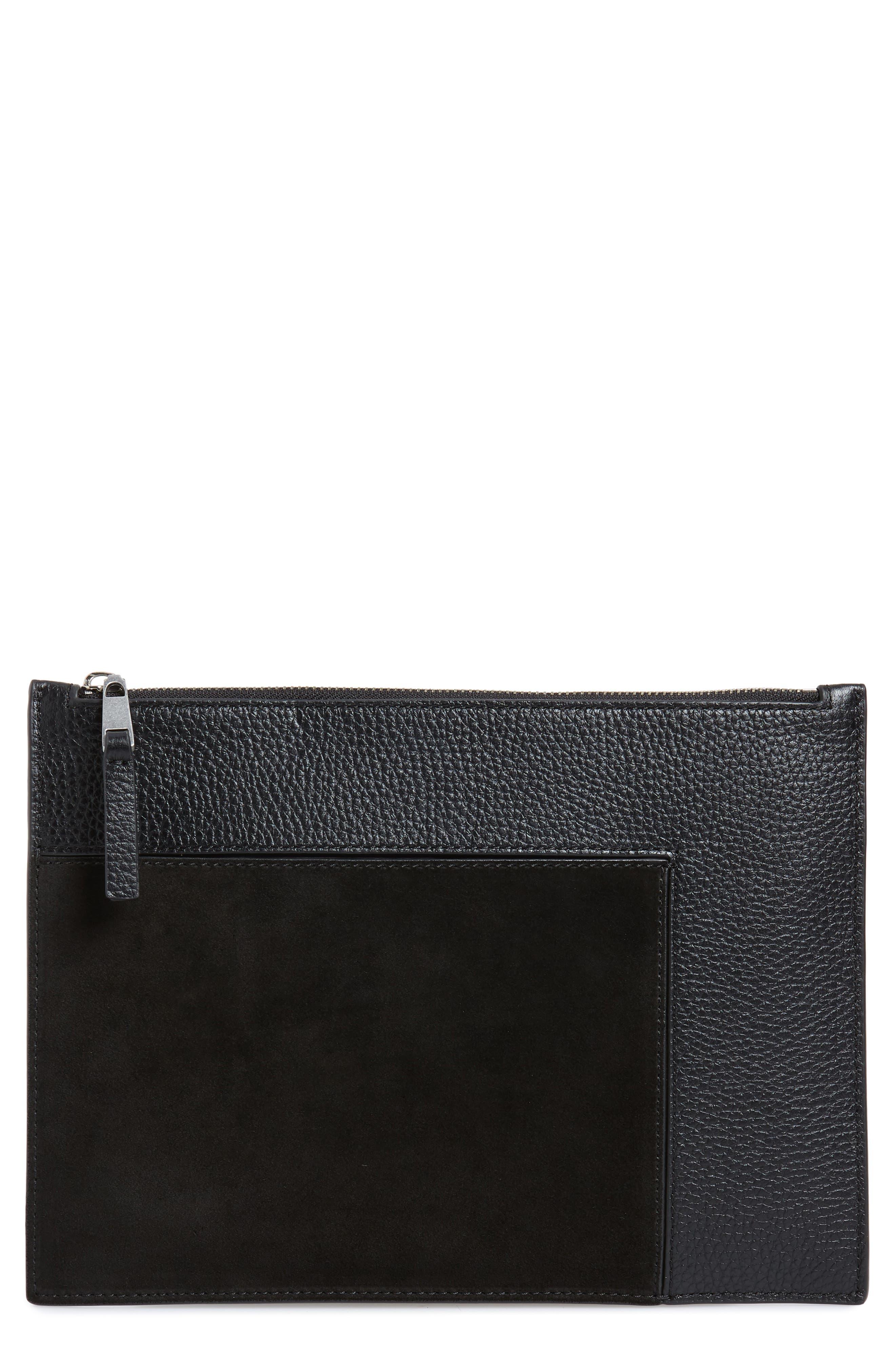 Dani Suede & Leather Pouch,                         Main,                         color, BLACK