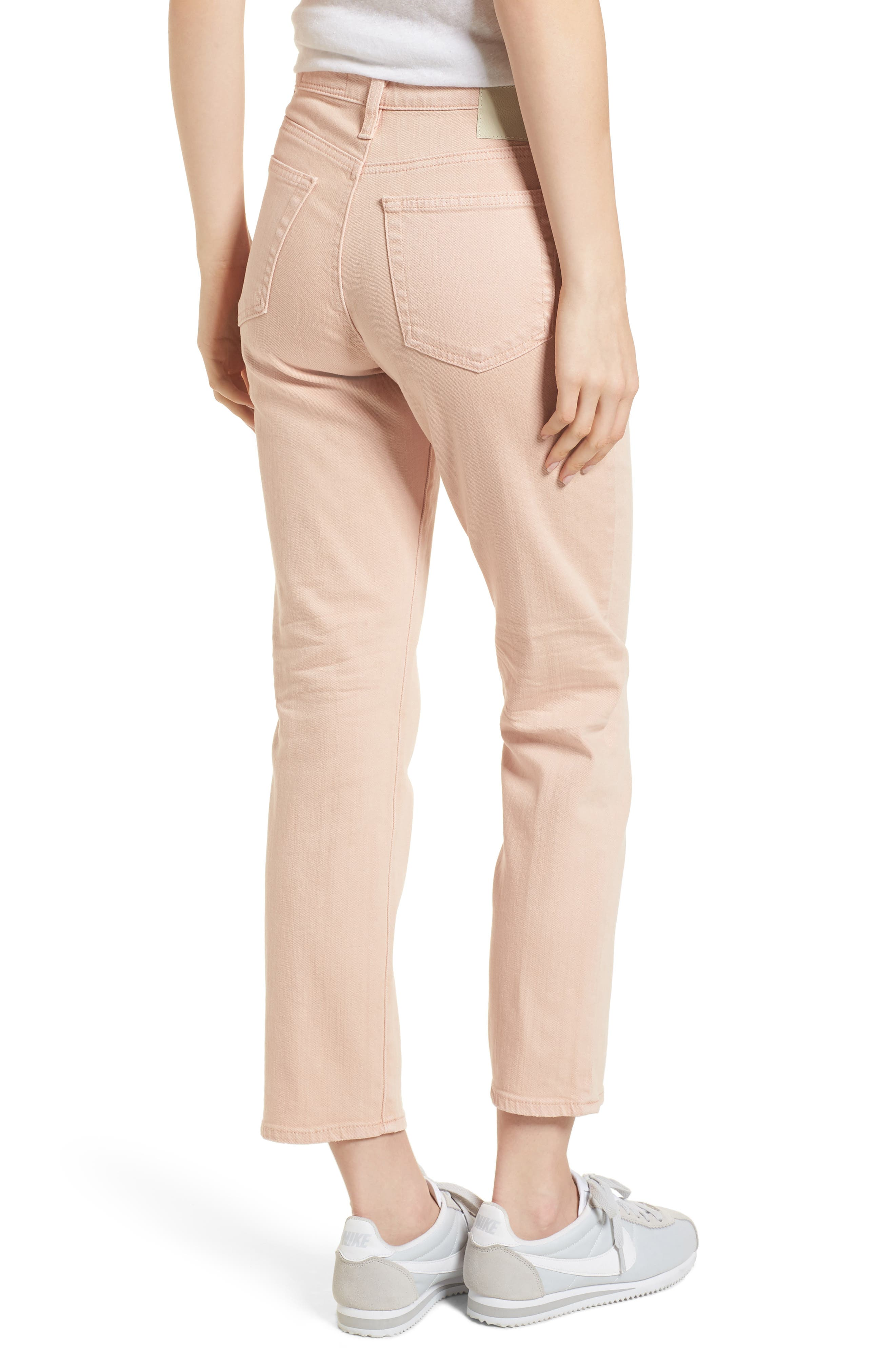 The Isabelle High Waist Crop Straight Leg Jeans,                             Alternate thumbnail 2, color,                             1 YEAR SULFUR ROSY ROGUE