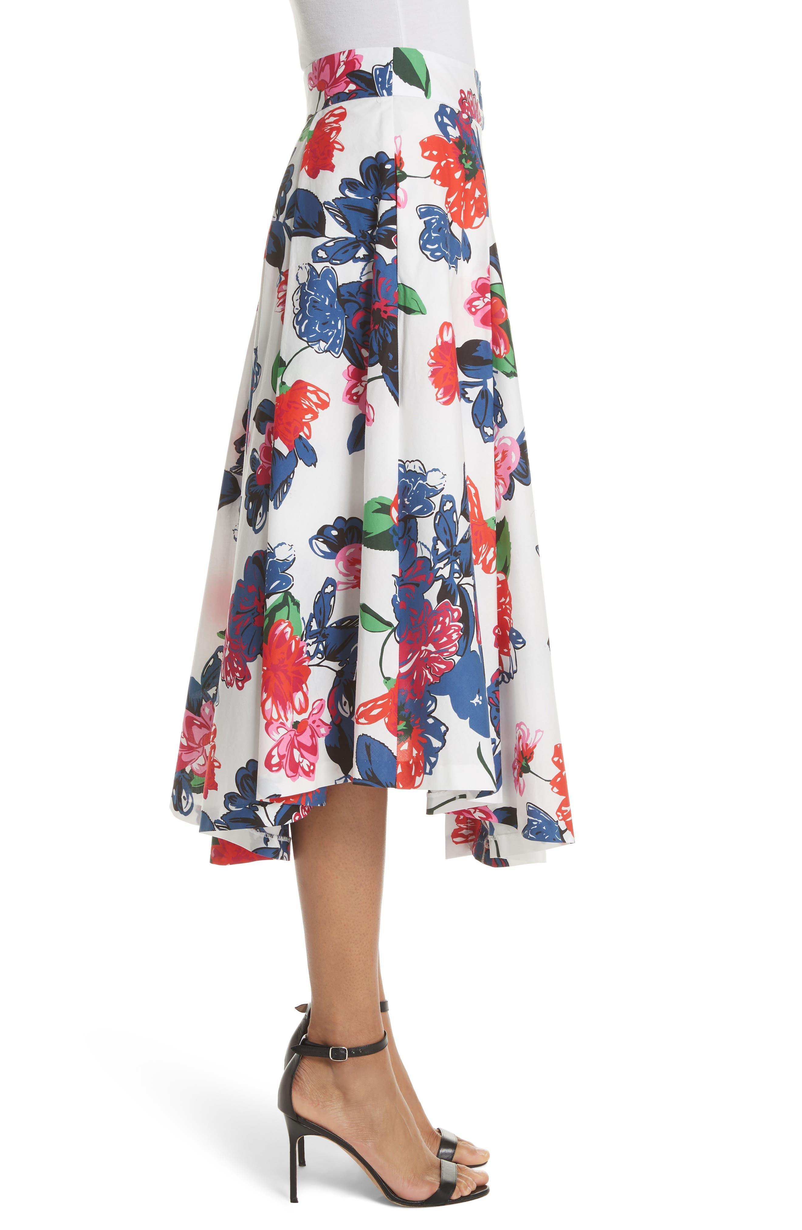 Floral Print Stretch Cotton Skirt,                             Alternate thumbnail 3, color,                             164