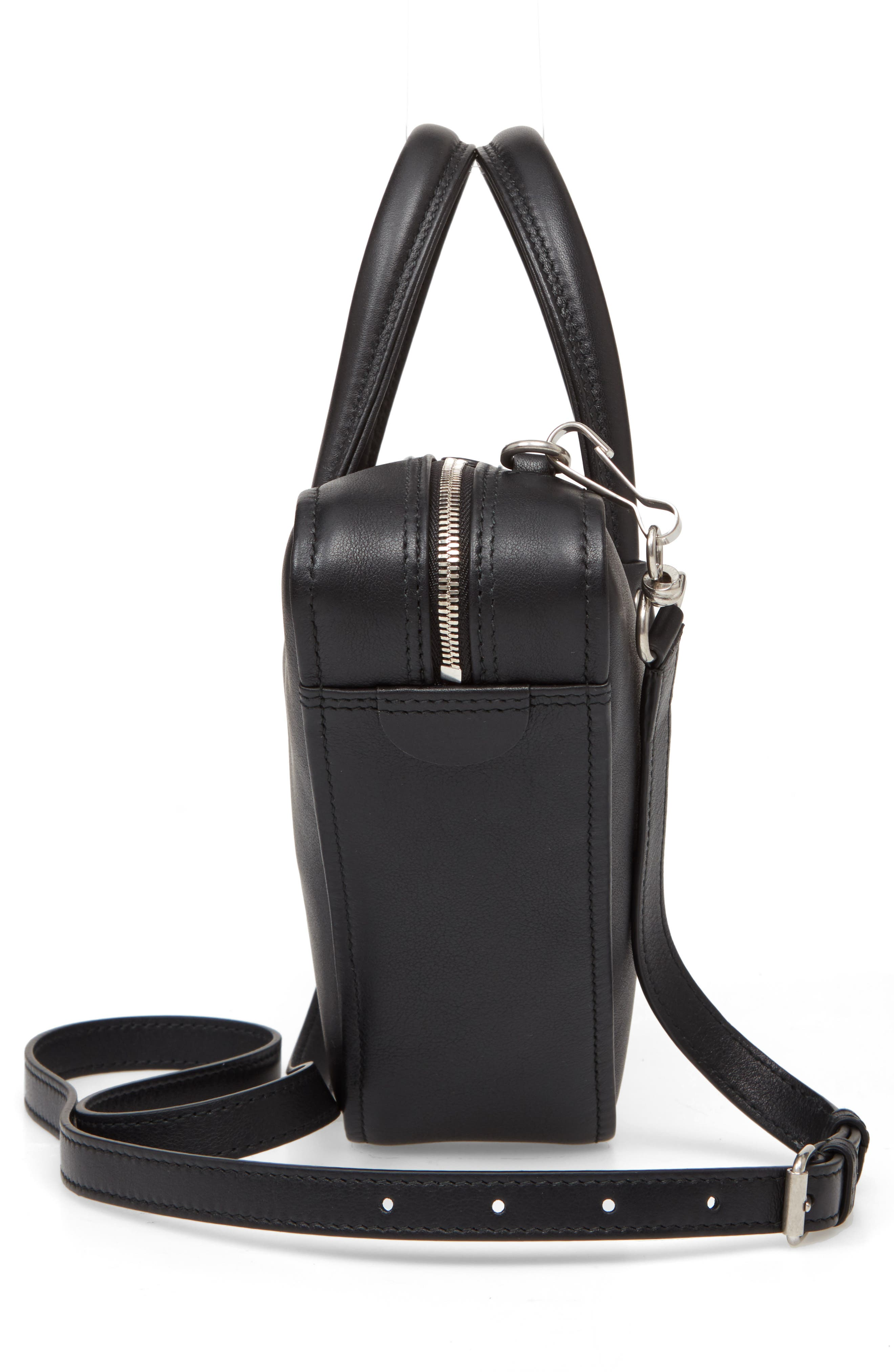 Extra Small Triangle Leather Bag,                             Alternate thumbnail 5, color,                             NOIR