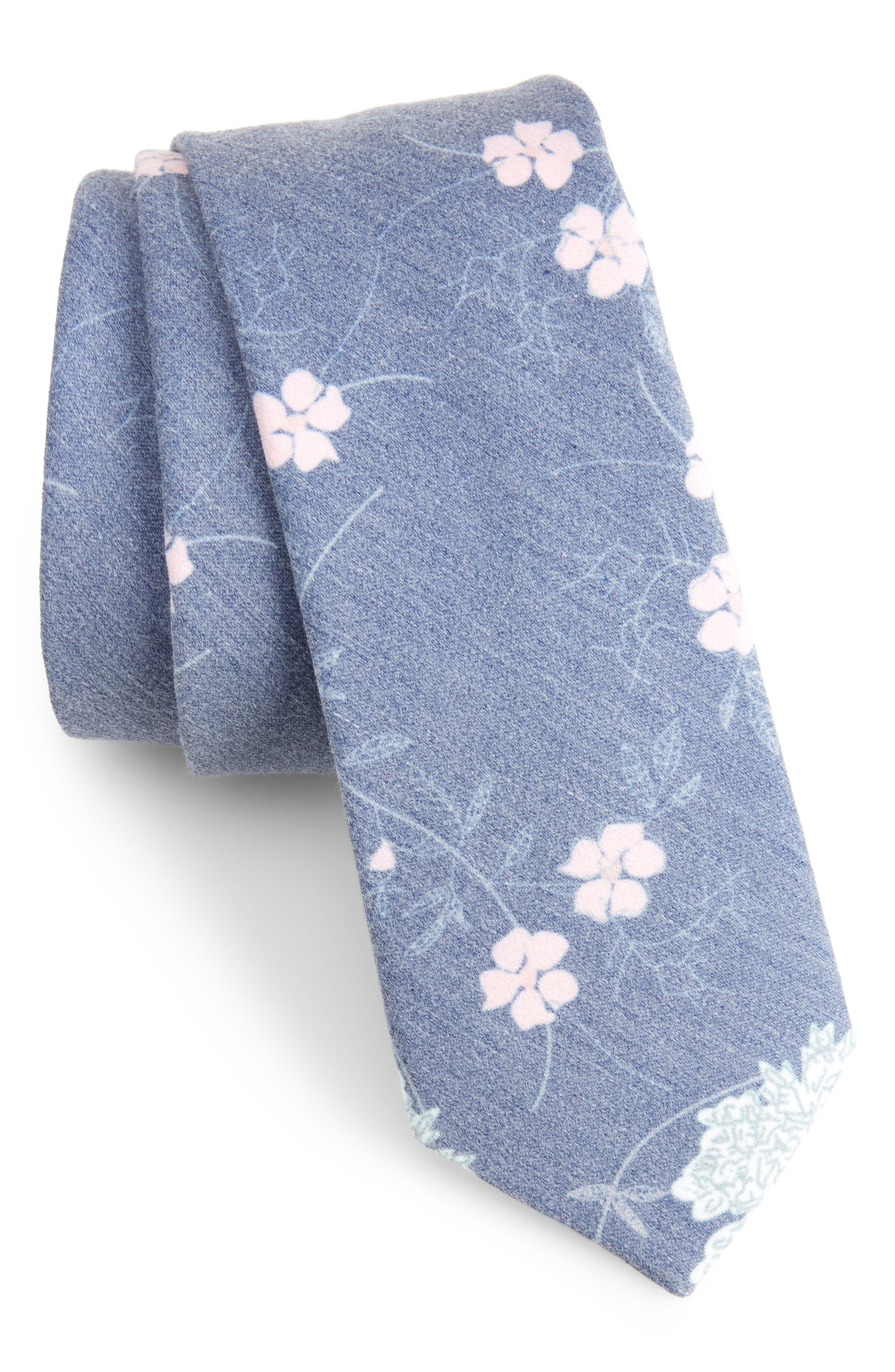 Huntwick Floral Cotton Skinny Tie,                             Main thumbnail 1, color,
