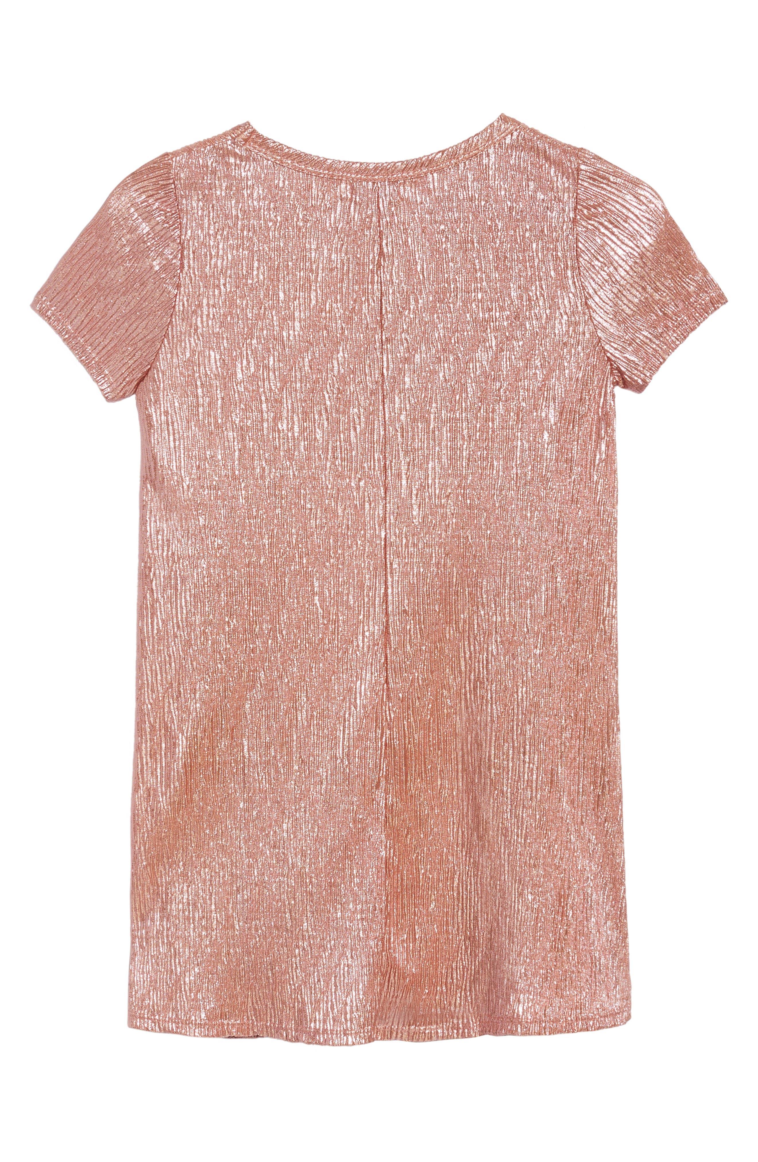 Love Fire Crinkled Metallic T-Shirt Dress,                             Alternate thumbnail 2, color,                             681