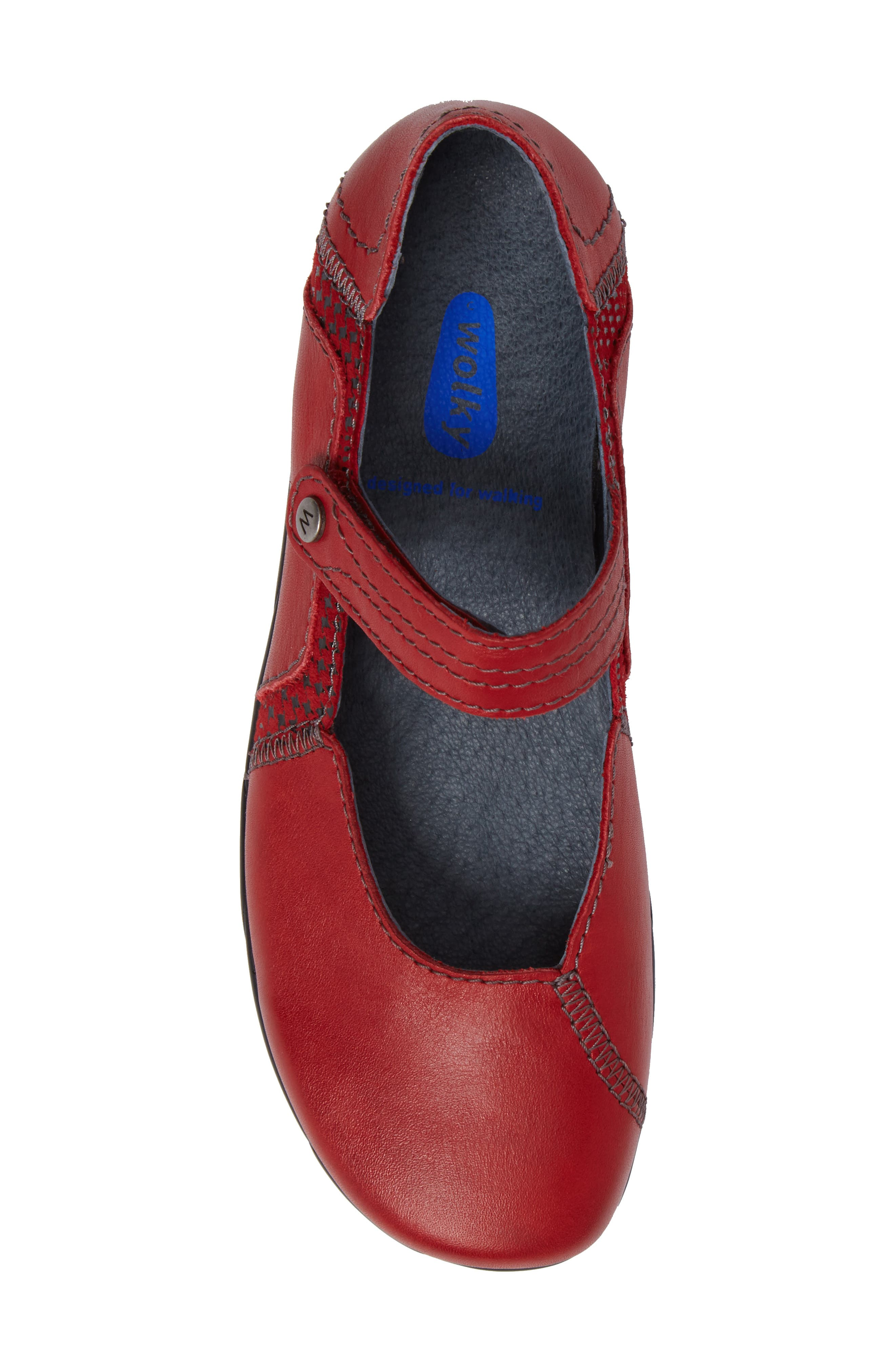 Gila Mary-Jane Flat,                             Alternate thumbnail 5, color,                             RED LEATHER