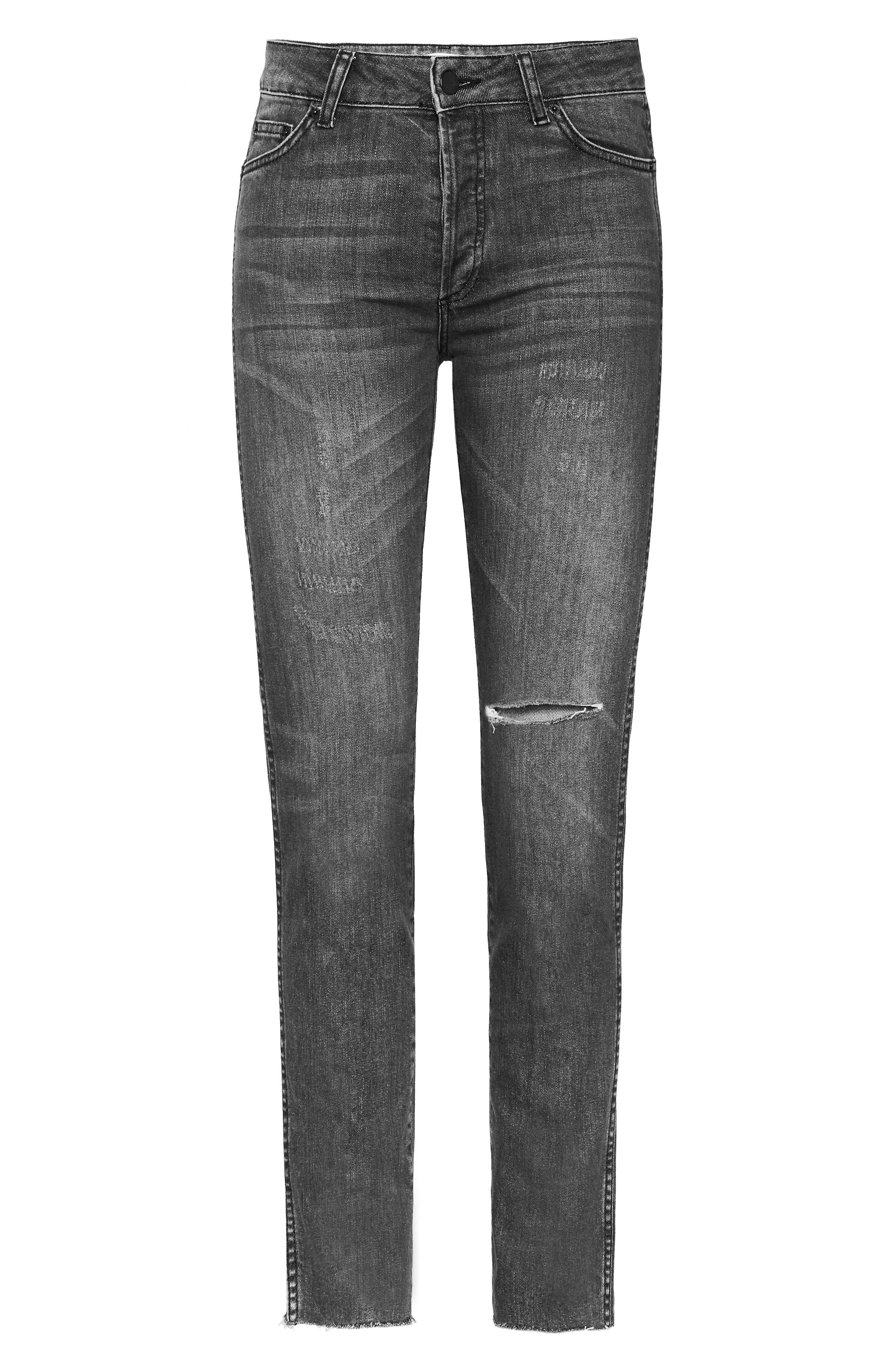 Kara Skinny Jeans,                             Alternate thumbnail 5, color,                             CHARCOAL
