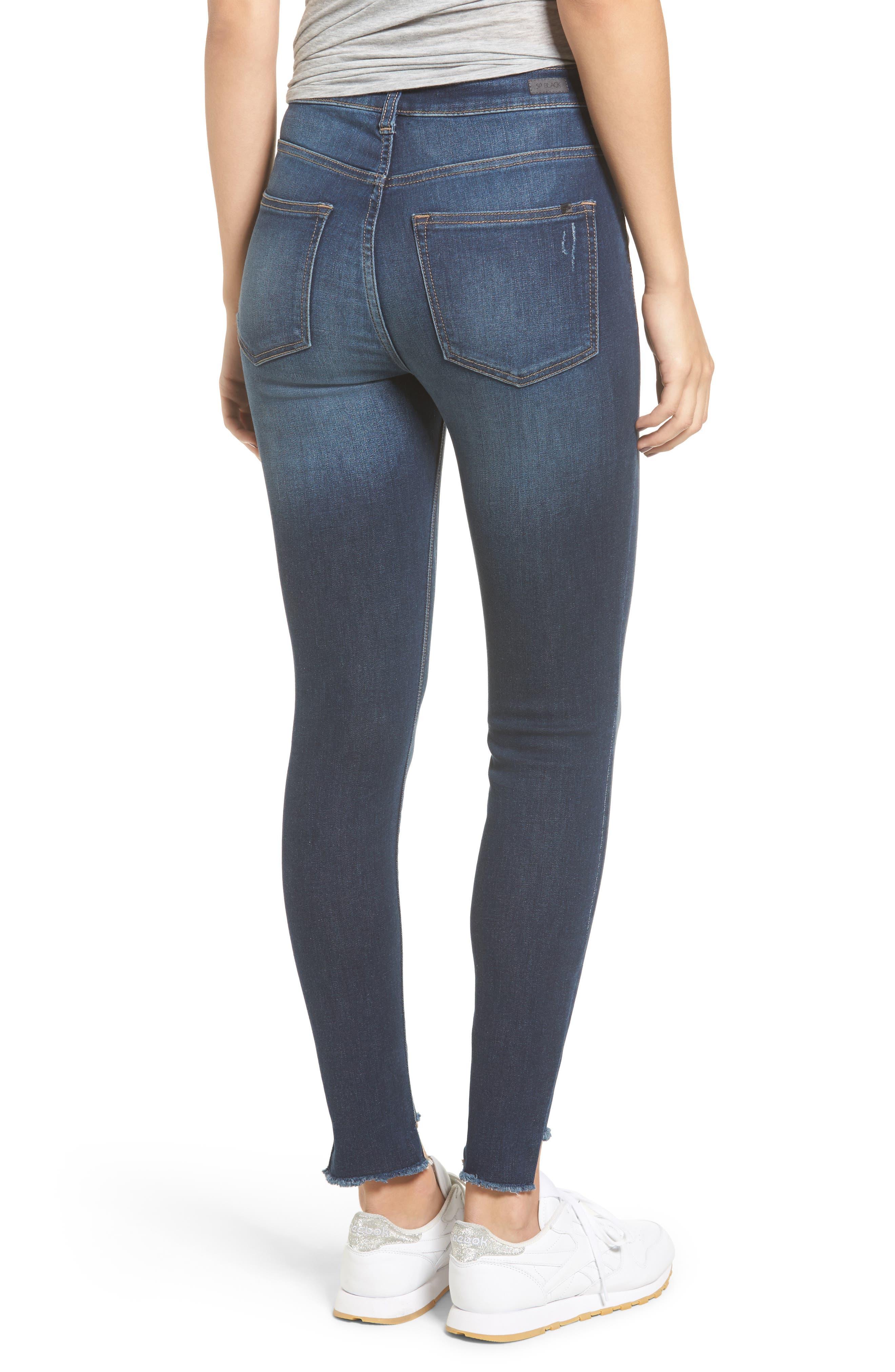 High Waist Step Hem Skinny Jeans,                             Alternate thumbnail 2, color,                             401