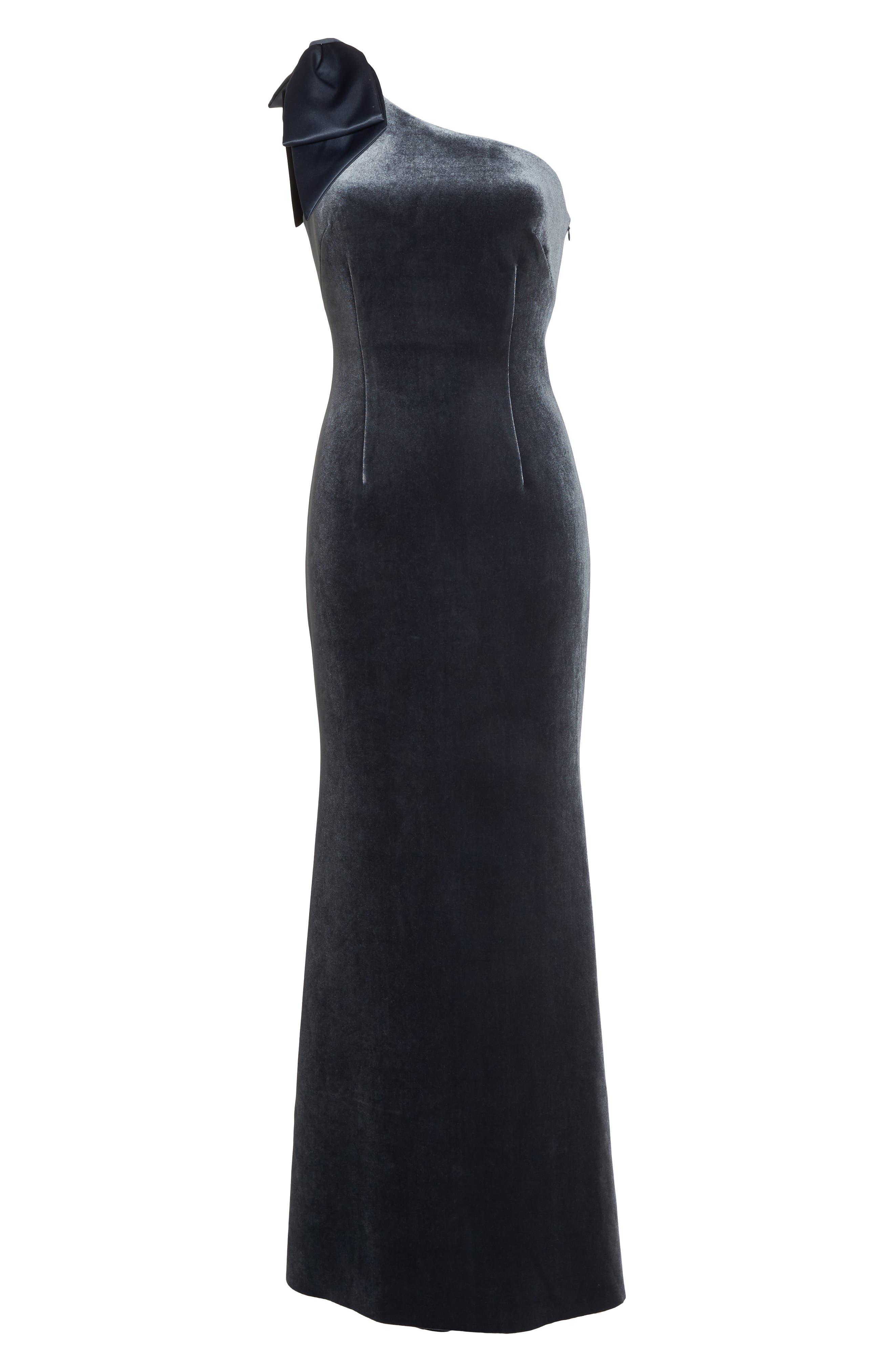 Bow One-Shoulder Velvet Gown,                             Alternate thumbnail 7, color,                             STEEL