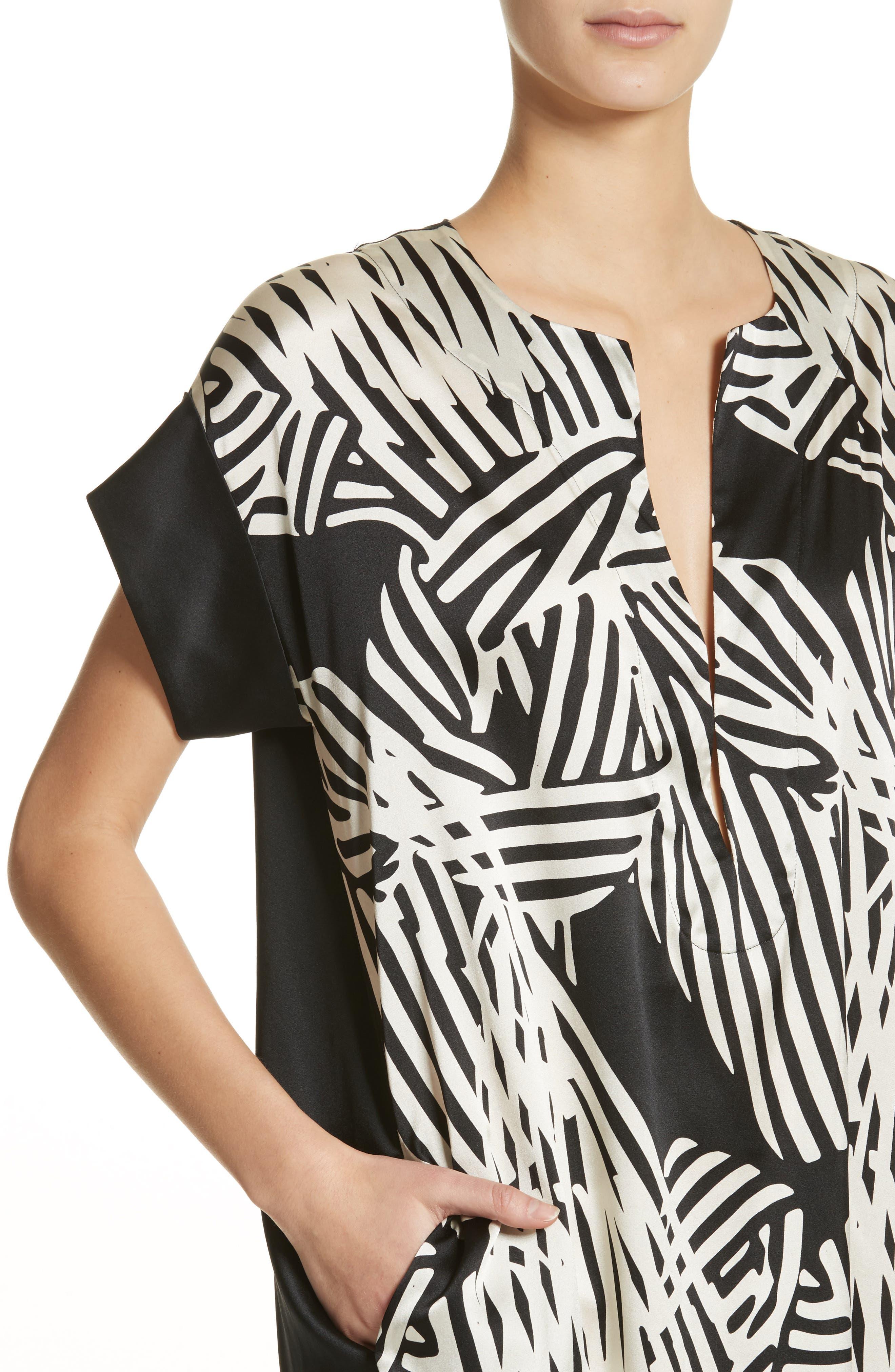 Bow Print Silk Blend Dress,                             Alternate thumbnail 4, color,                             001