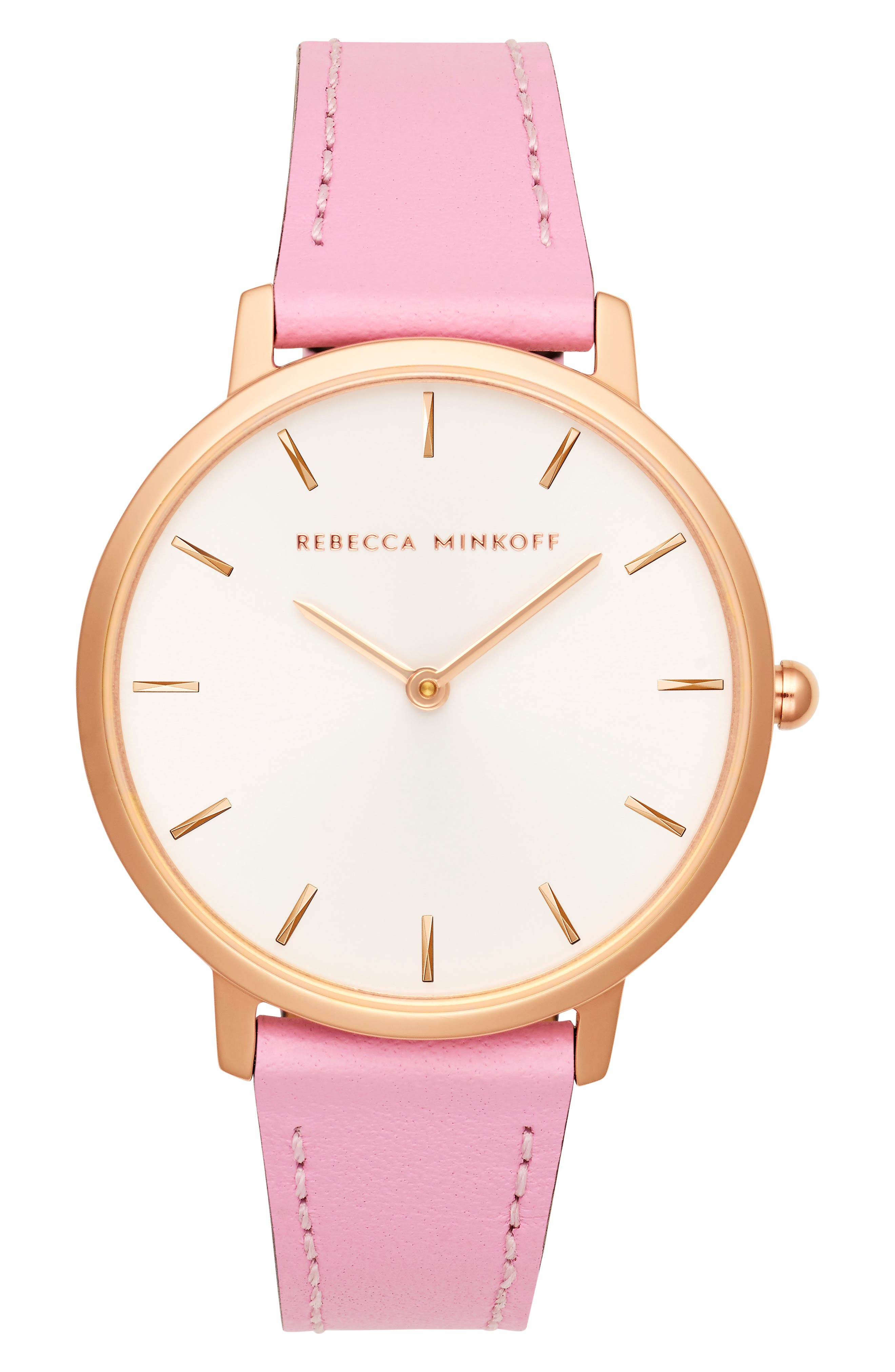 Major Leather Strap Watch, 35mm, Main, color, PINK/ SILVER WHITE/ ROSE GOLD