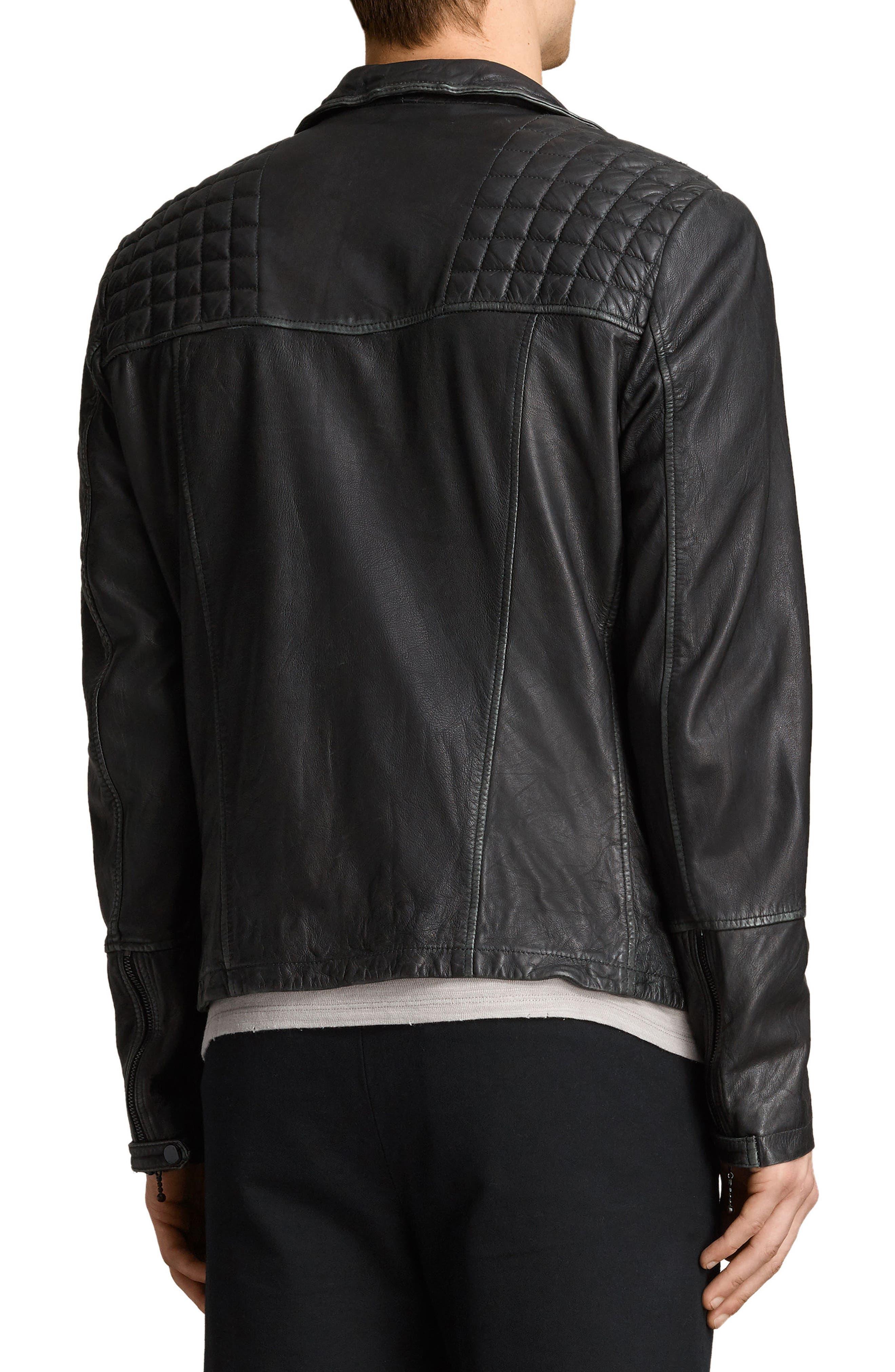 Cargo Biker Slim Fit Leather Jacket,                             Alternate thumbnail 2, color,                             BLACK GREY