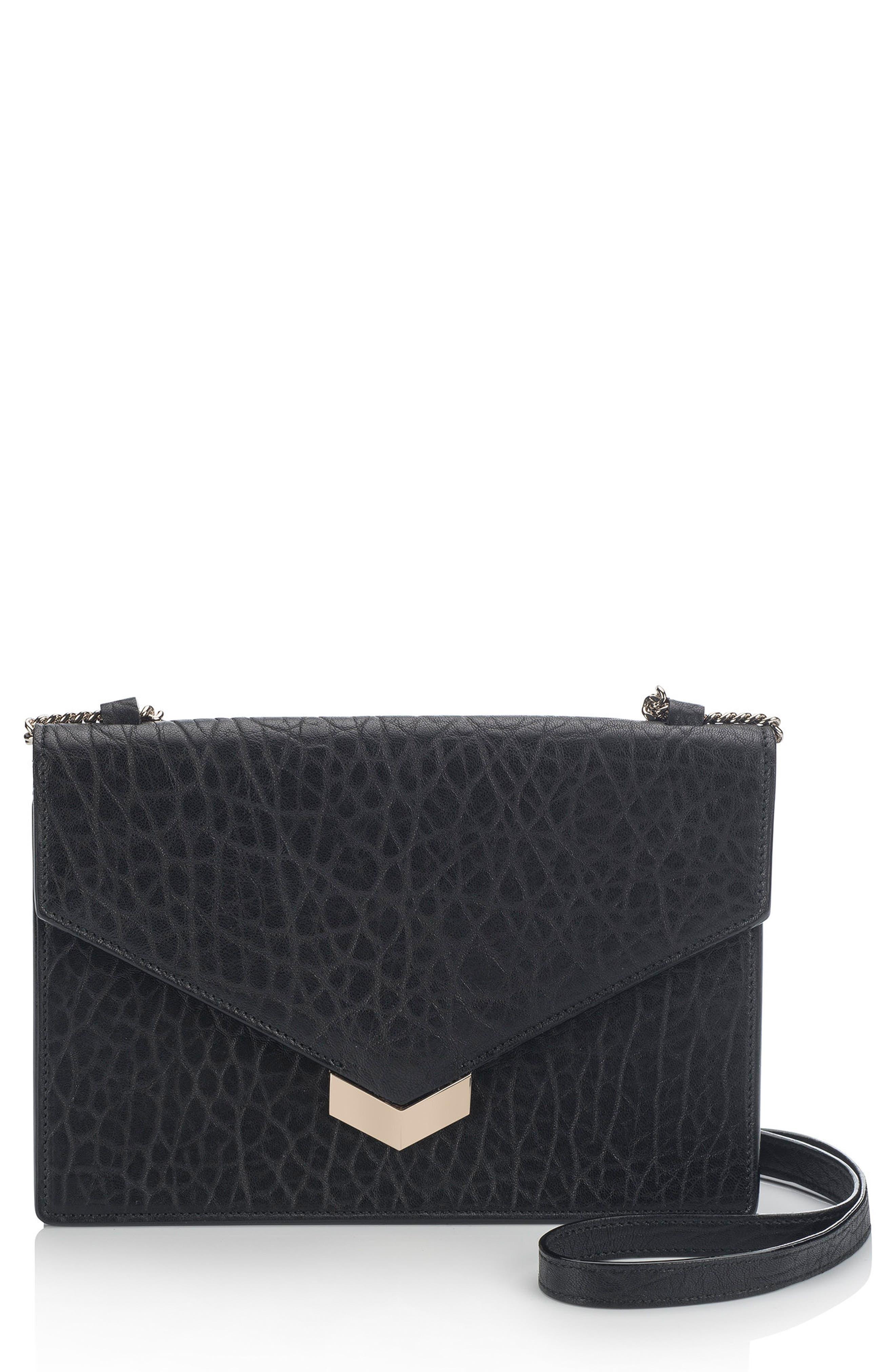 Leila Grainy Lambskin Leather Crossbody Bag,                         Main,                         color, 001