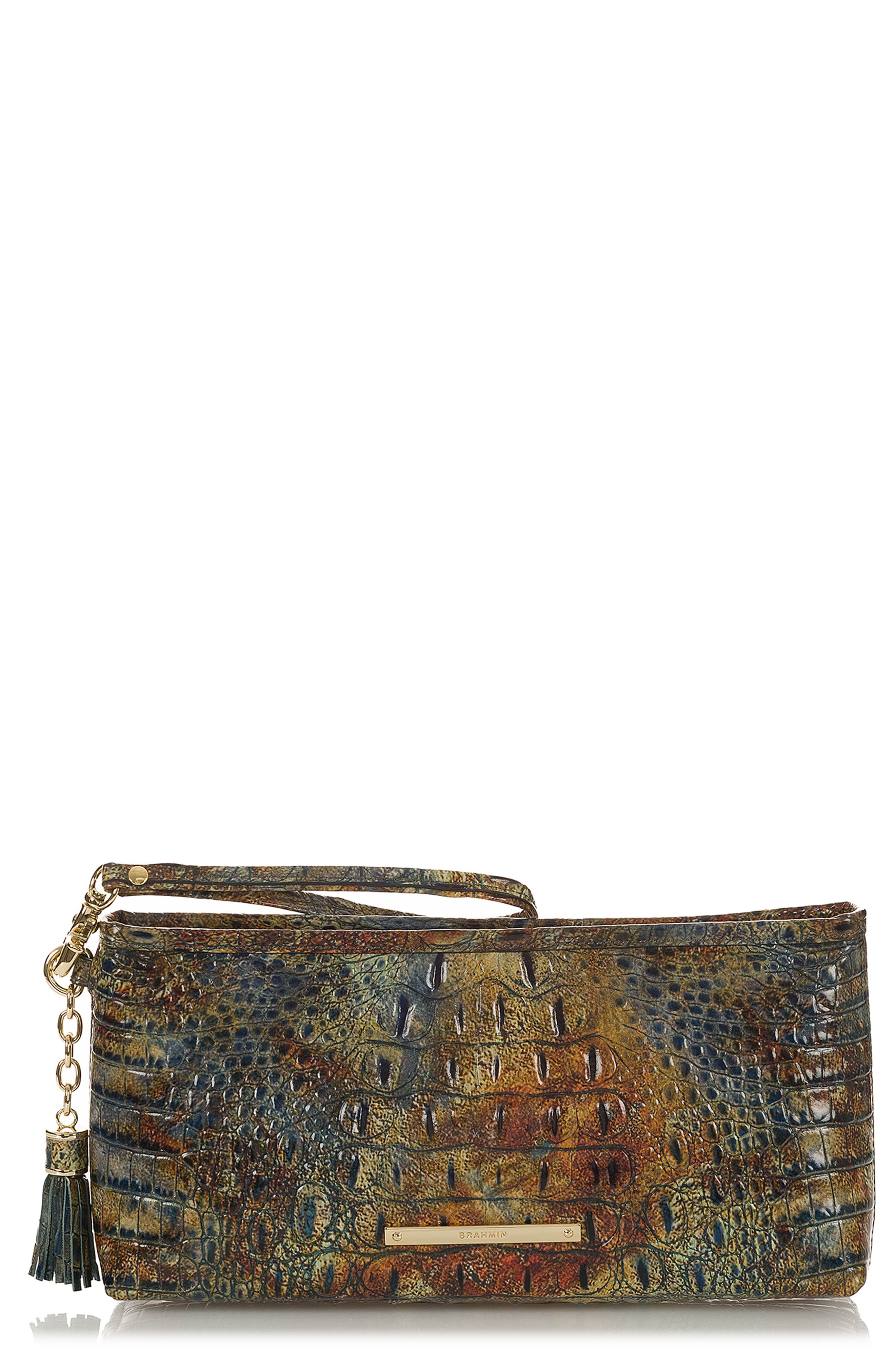 Kayla Embossed Leather Clutch,                             Main thumbnail 1, color,                             CEDAR