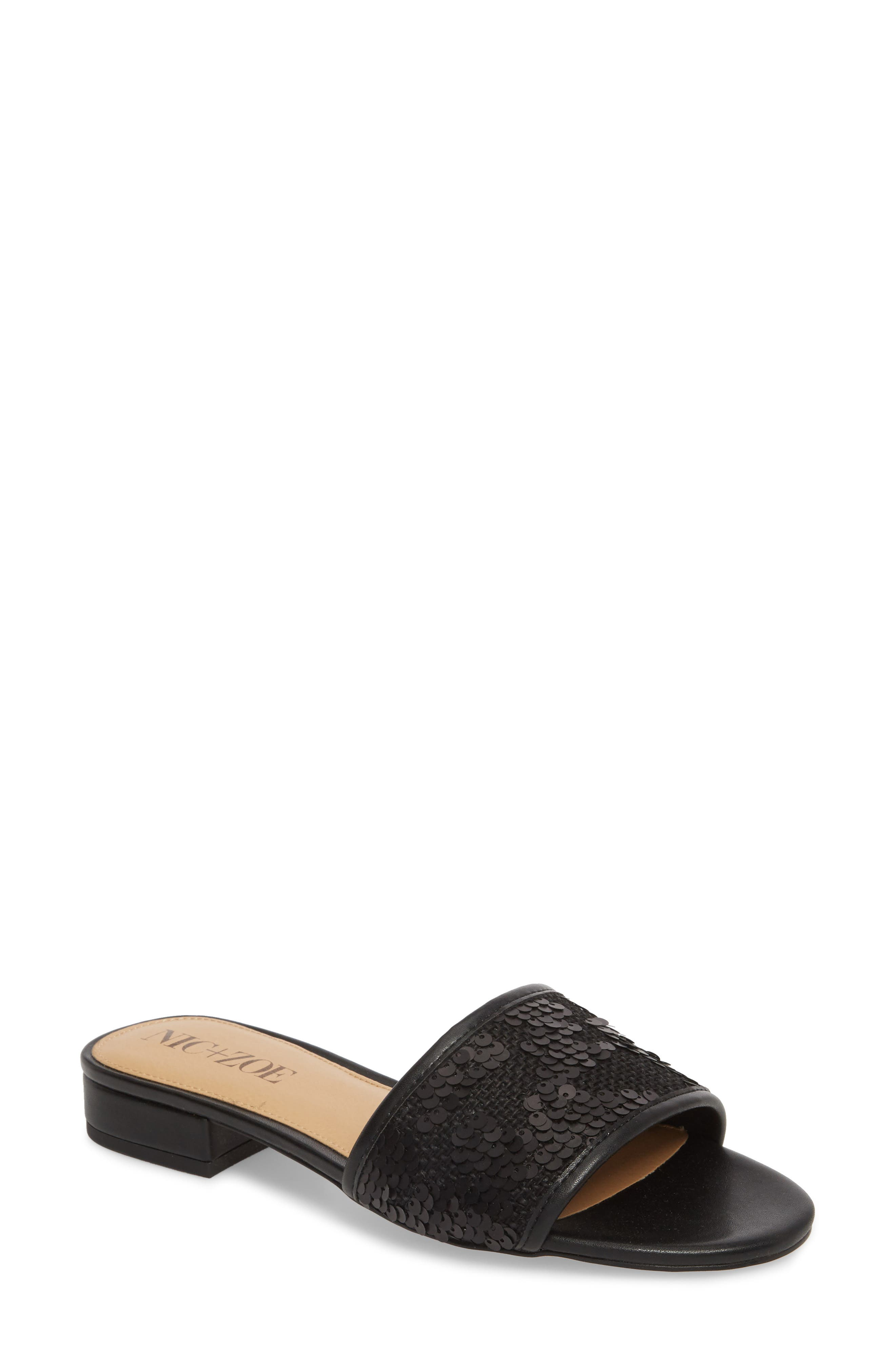 NIC + ZOE Sandy Sequin Low Heel Slide,                             Main thumbnail 1, color,                             BLACK FABRIC