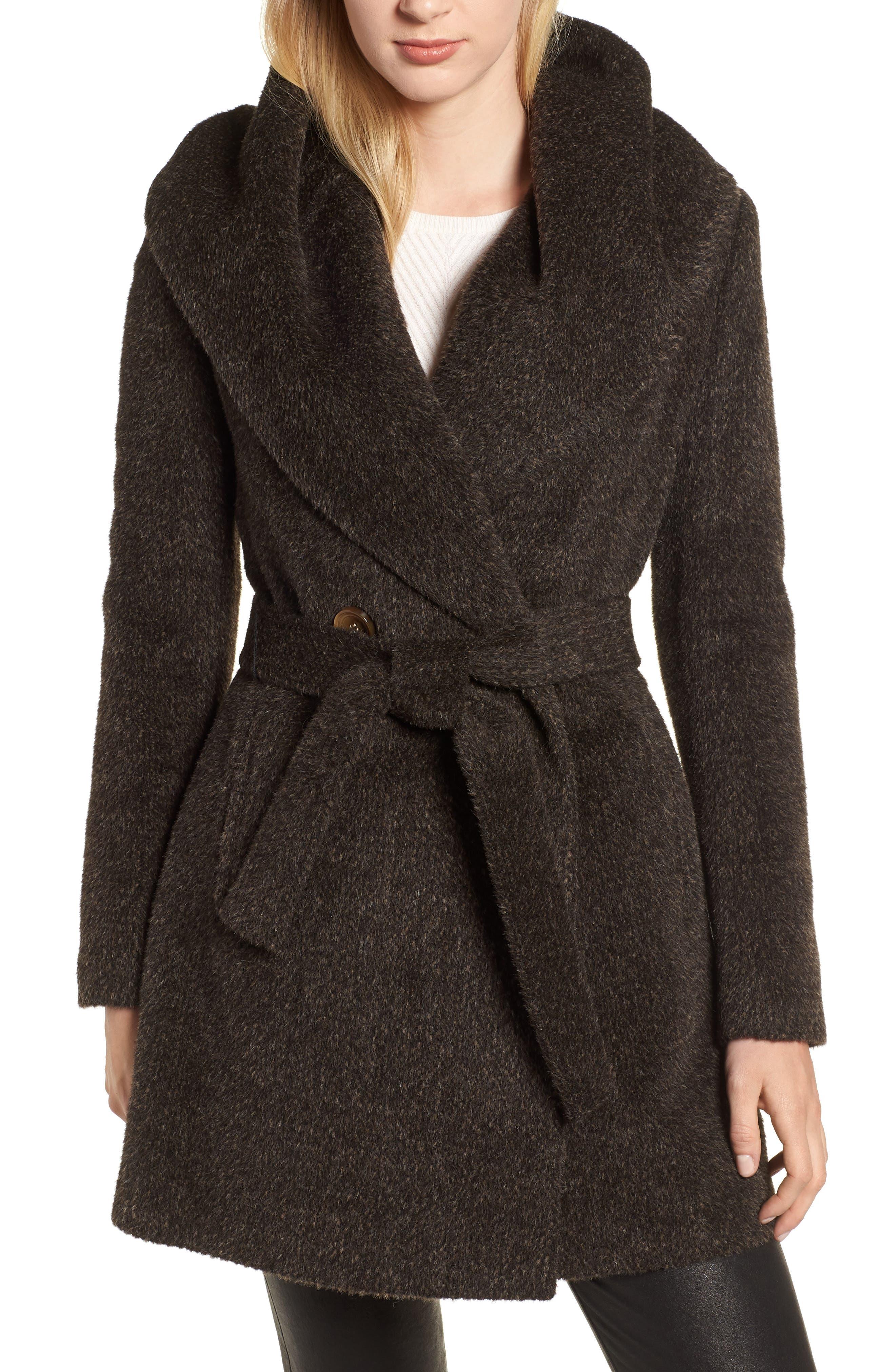 Grace Hooded Wrap Walker Coat,                             Main thumbnail 1, color,                             BROWN/ BLACK
