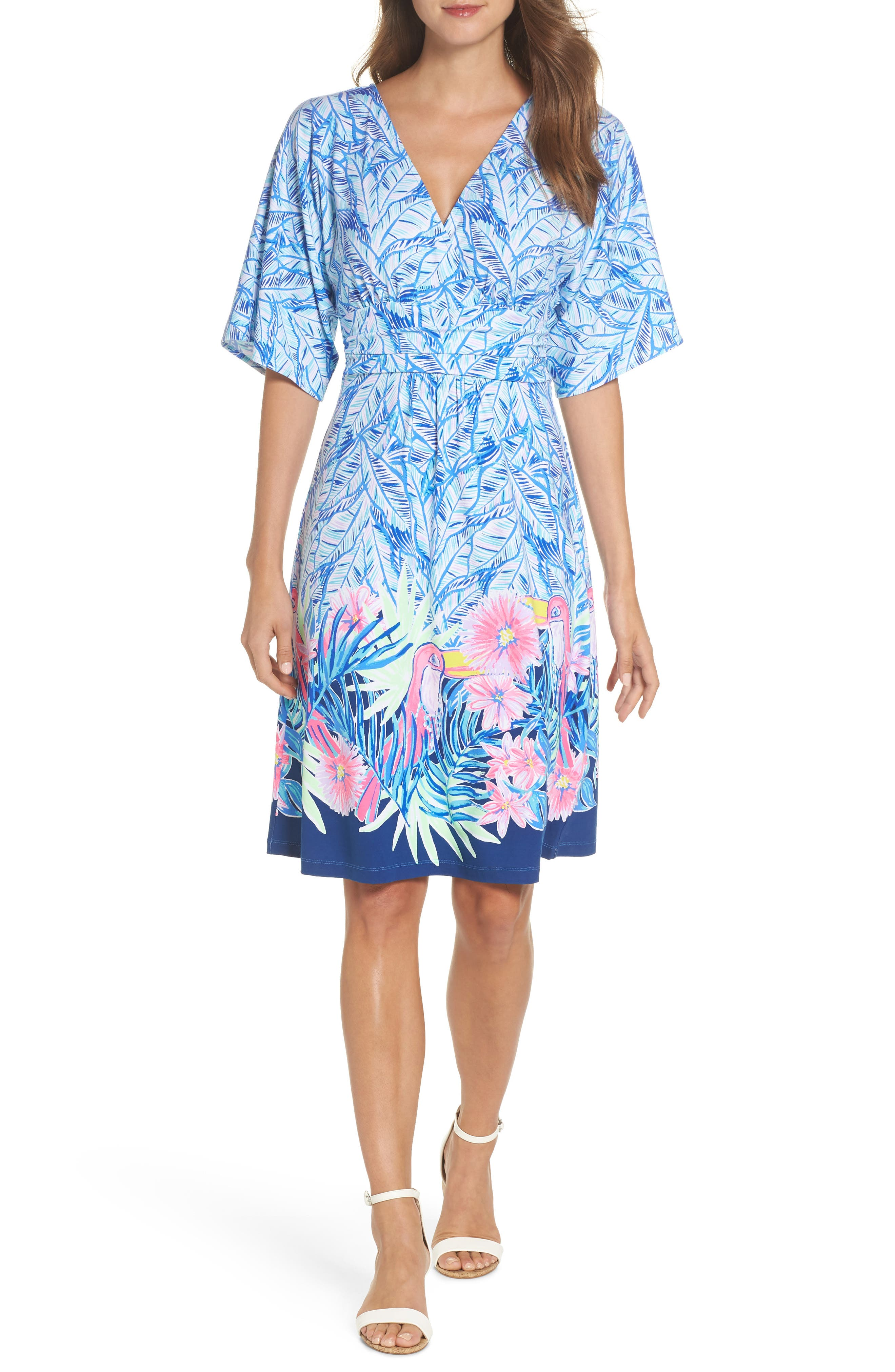 Parigi Print Dress,                             Alternate thumbnail 5, color,                             420