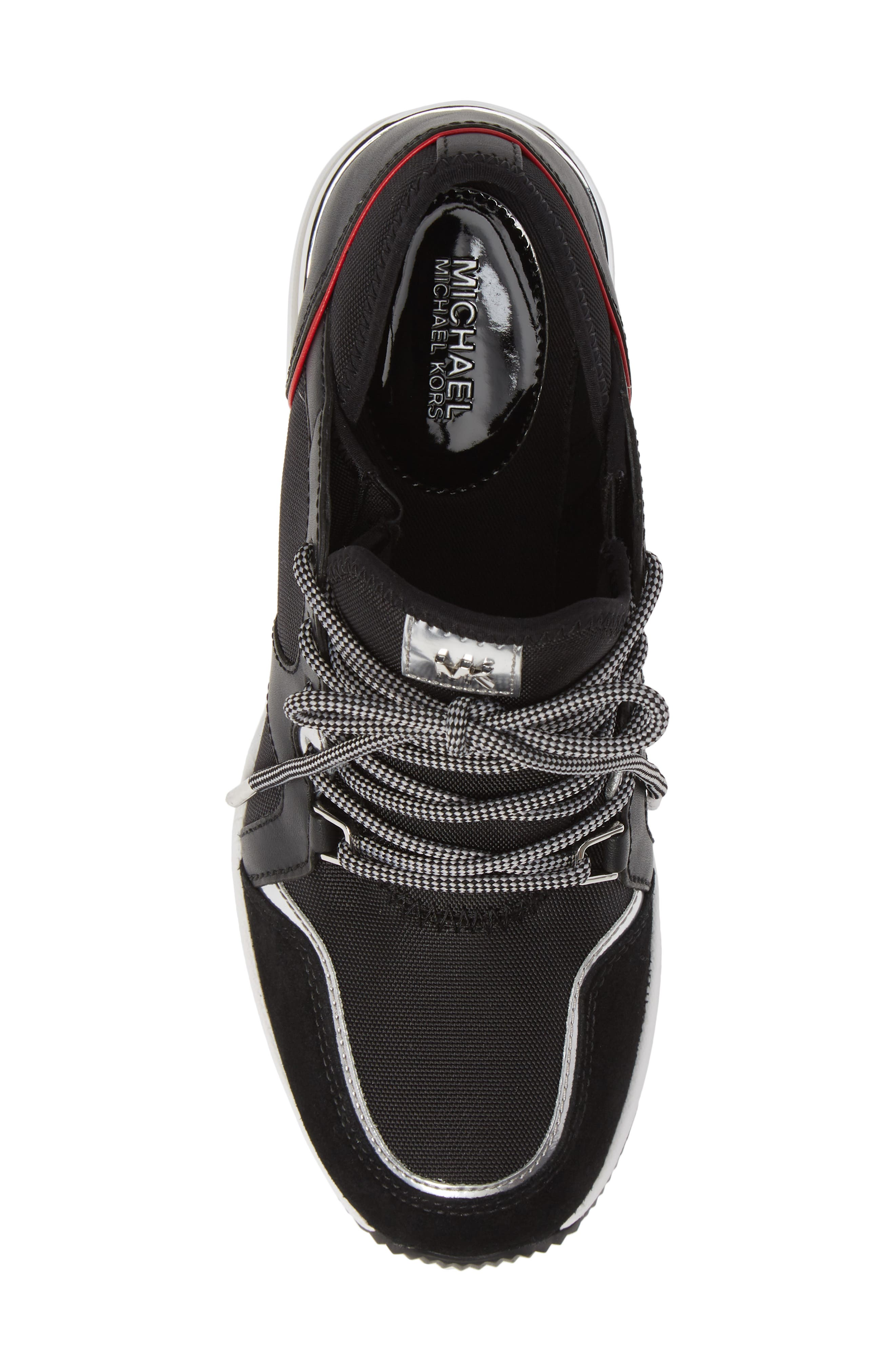Scout Trainer Wedge Sneaker,                             Alternate thumbnail 5, color,                             001