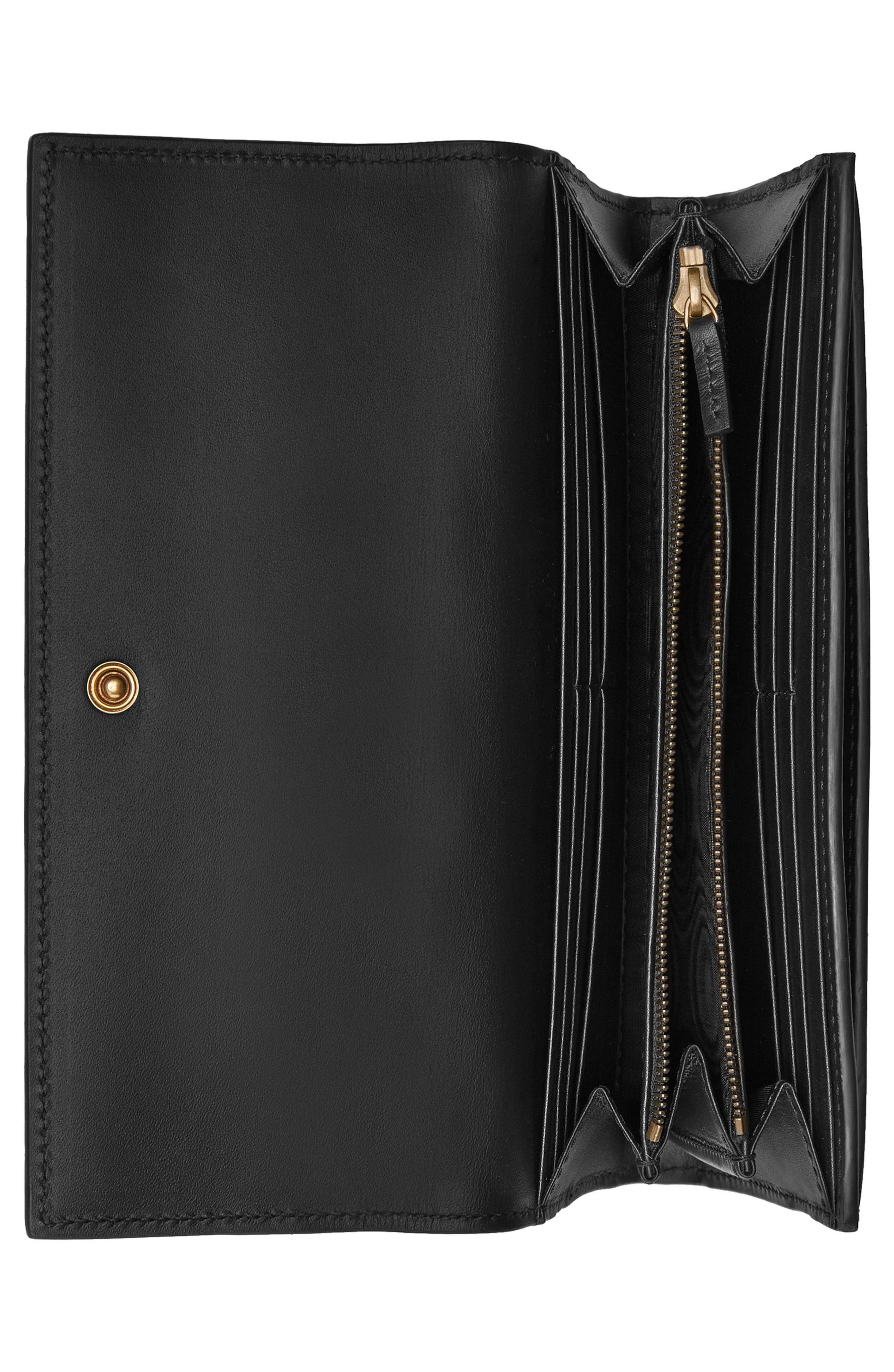 Queen Margaret Leather Flap Wallet,                             Alternate thumbnail 2, color,                             NERO/ NERO/ RUBY