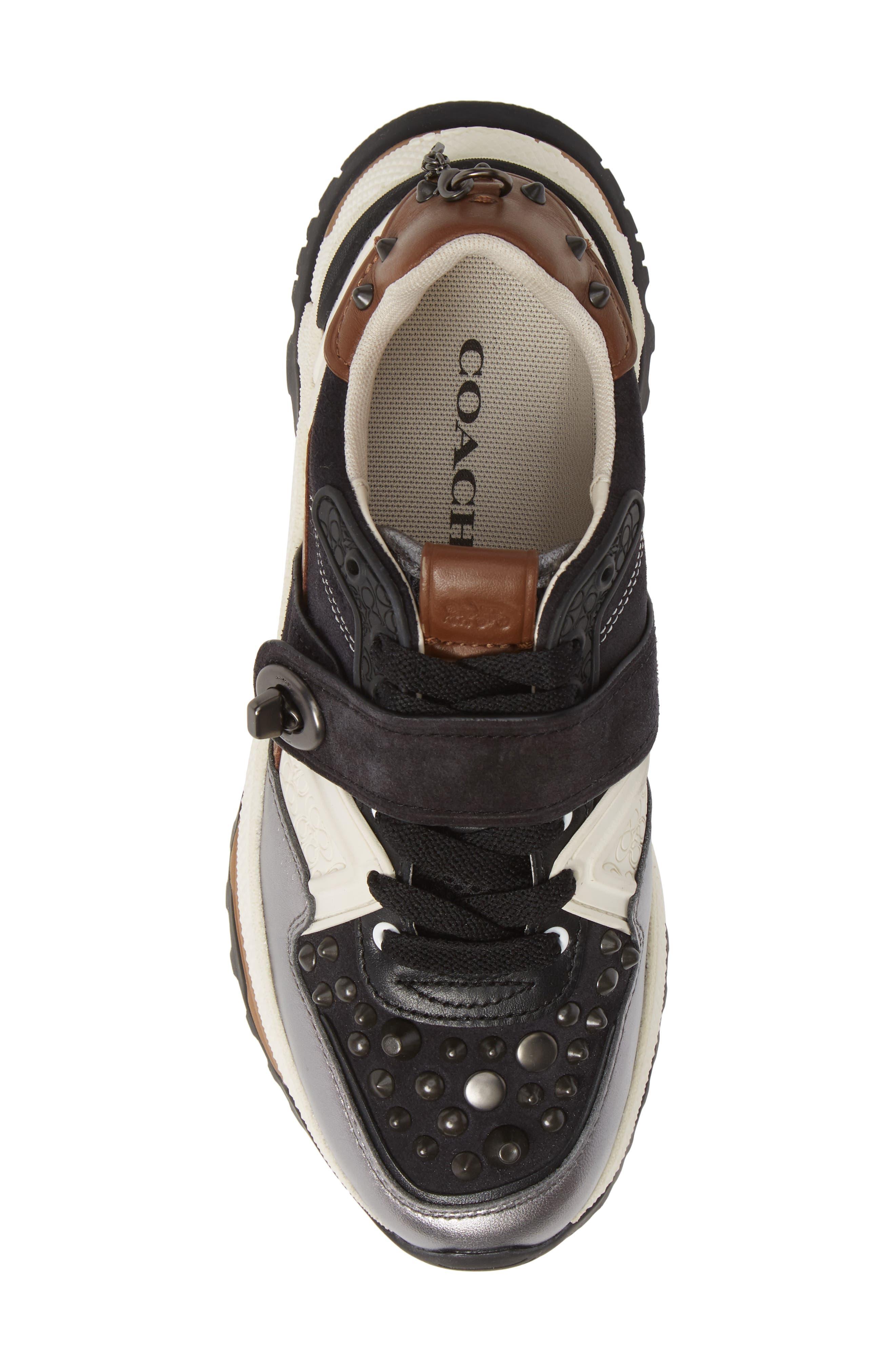 C143 Studded Sneaker,                             Alternate thumbnail 5, color,                             BLACK/ GUNMETAL LEATHER