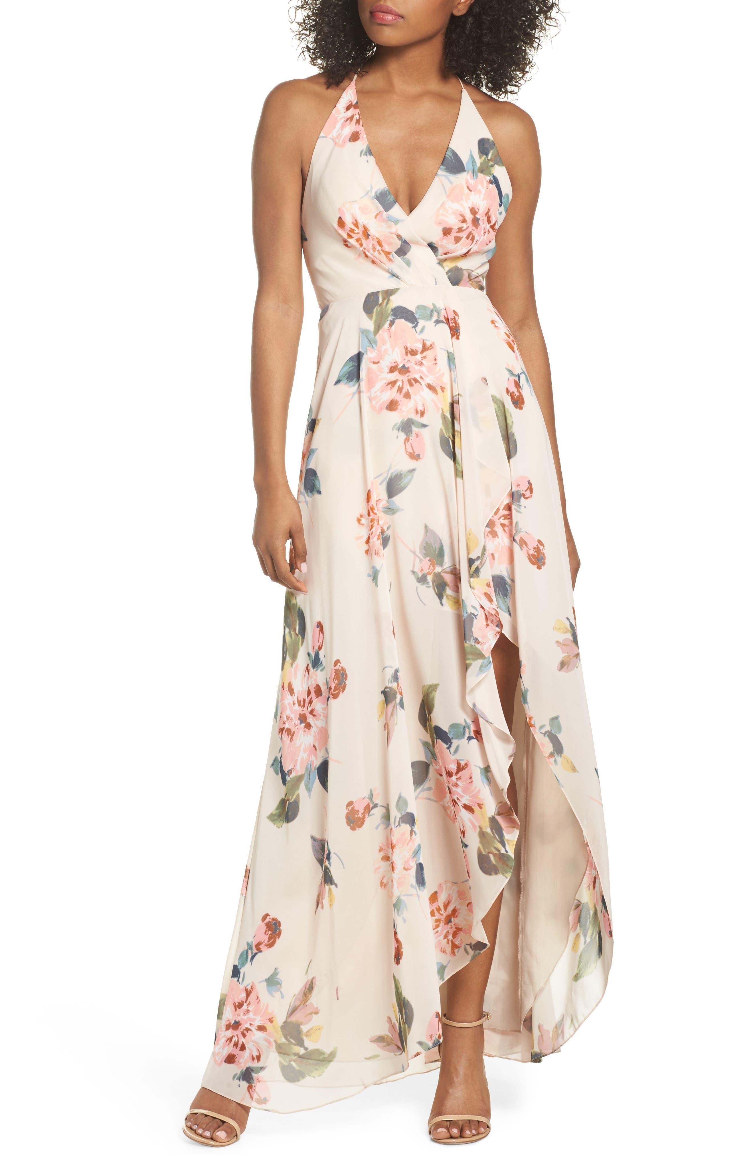 Jenny Yoo Farrah Halter Gown, Pink