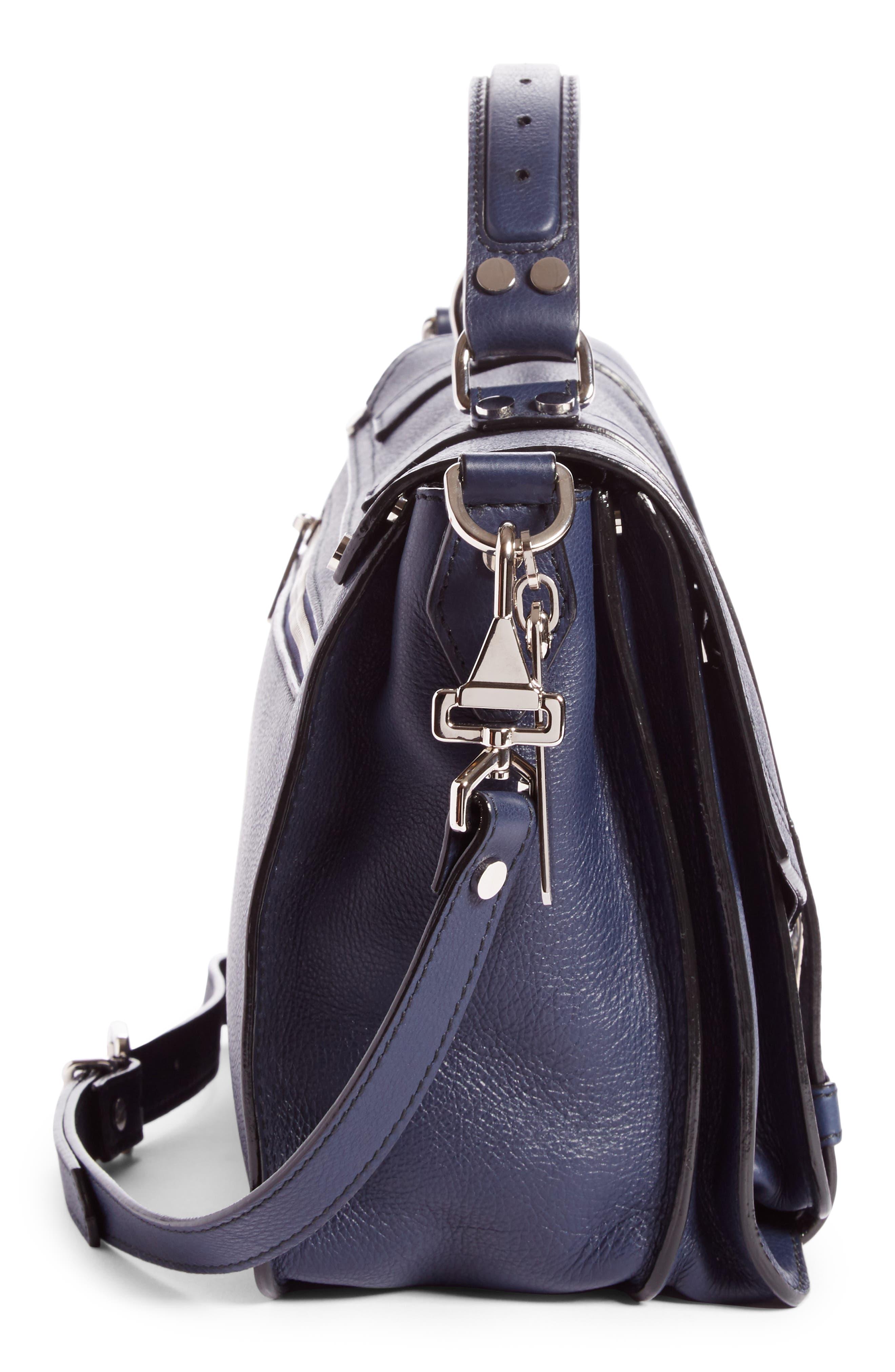 Medium PS1+ Grainy Leather Satchel,                             Alternate thumbnail 4, color,                             INDIGO
