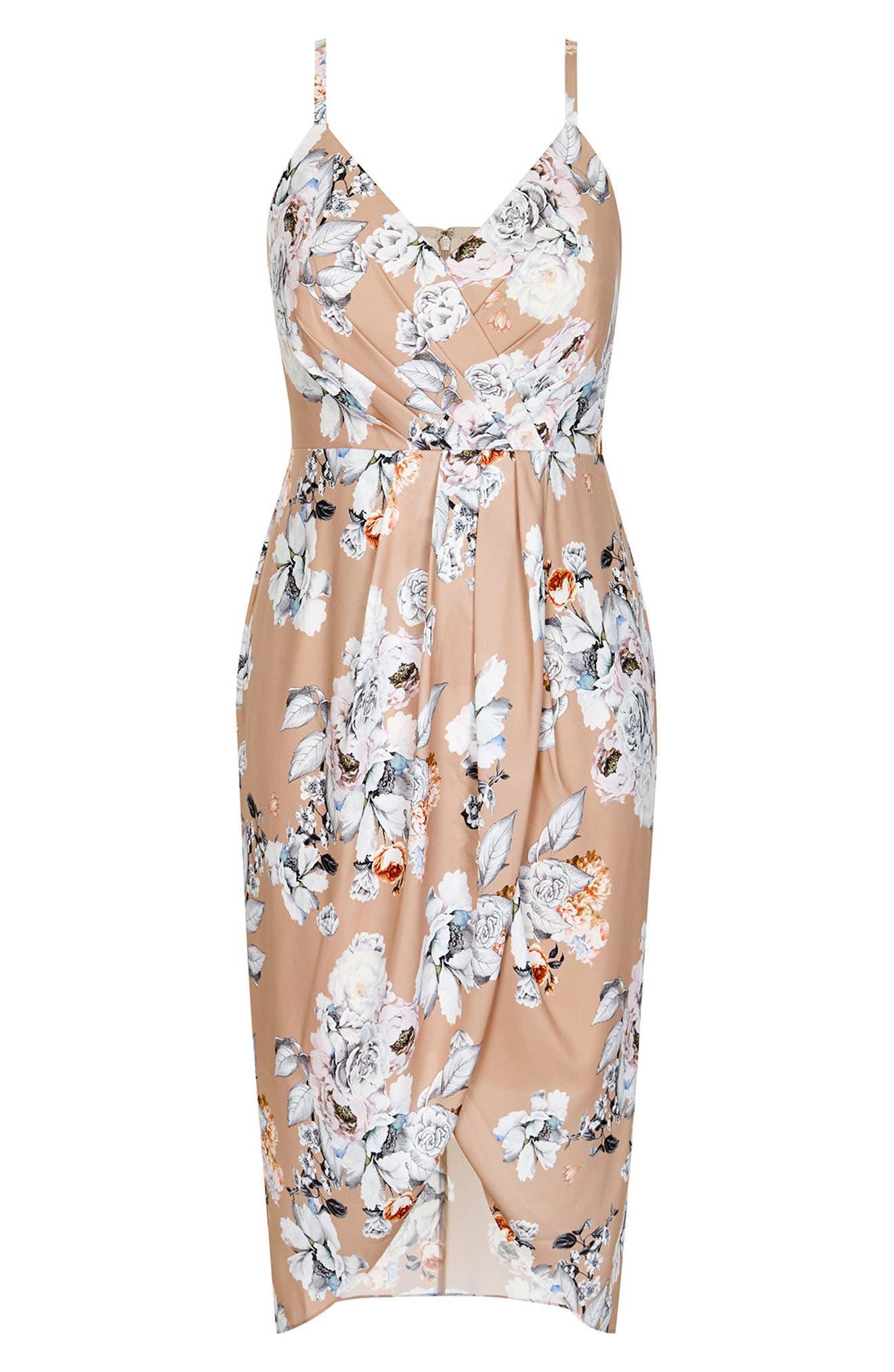 Paper Floral Mock Wrap Dress,                             Alternate thumbnail 3, color,                             PAPER FLORAL