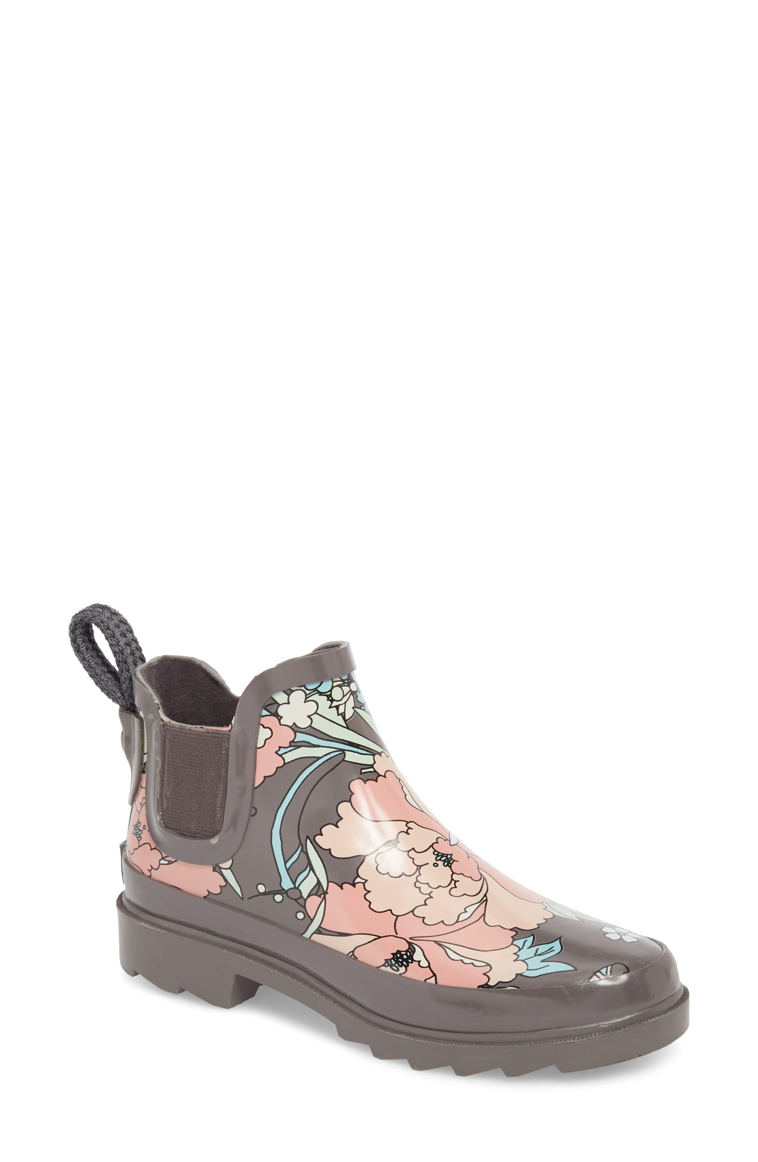 Rhyme Waterproof Rain Boot,                         Main,                         color, CHARCOAL FLOWER POWER