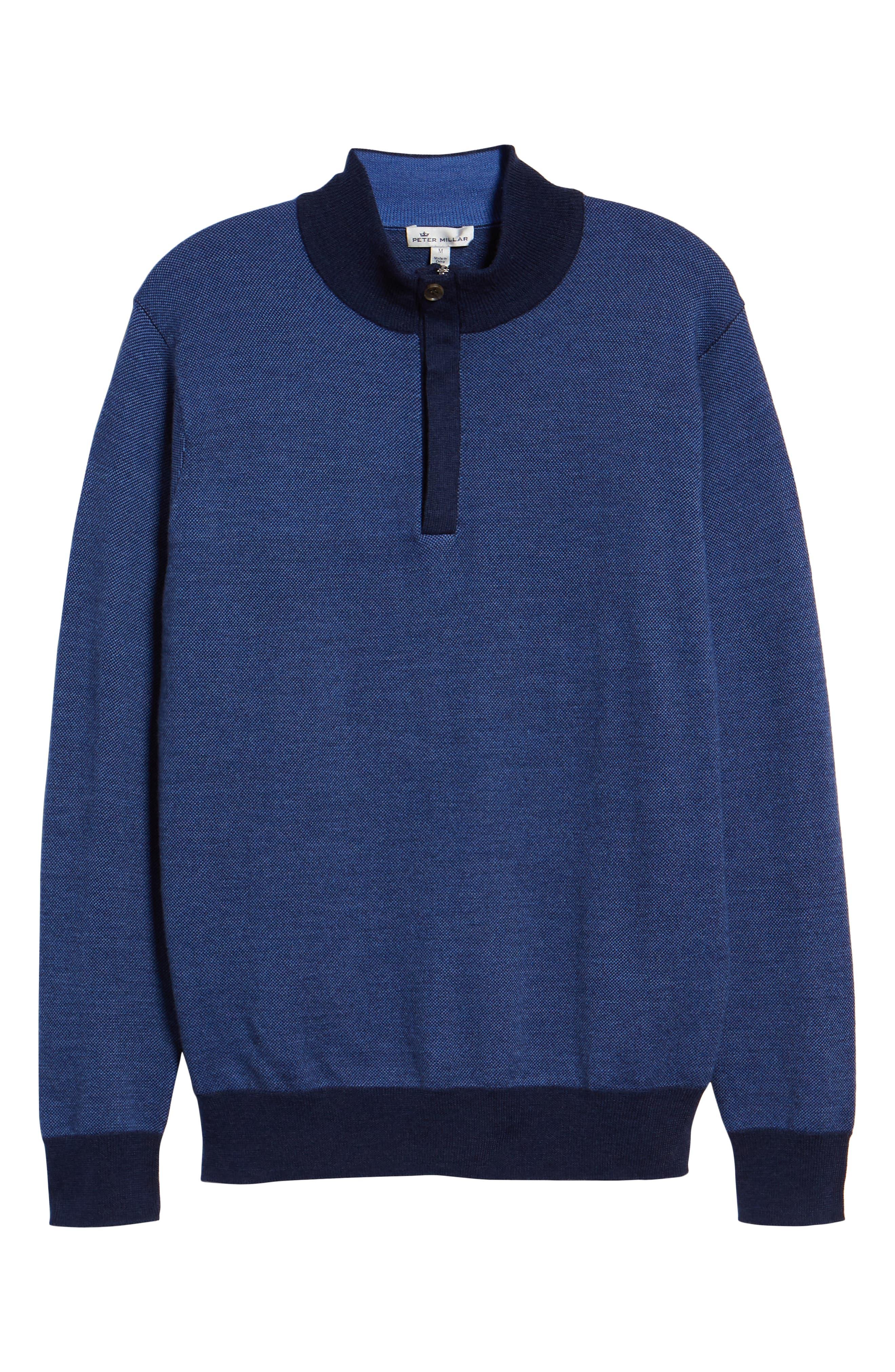 Birdseye Merino Wool Quarter Zip Sweater,                             Alternate thumbnail 6, color,                             PLAZA BLUE