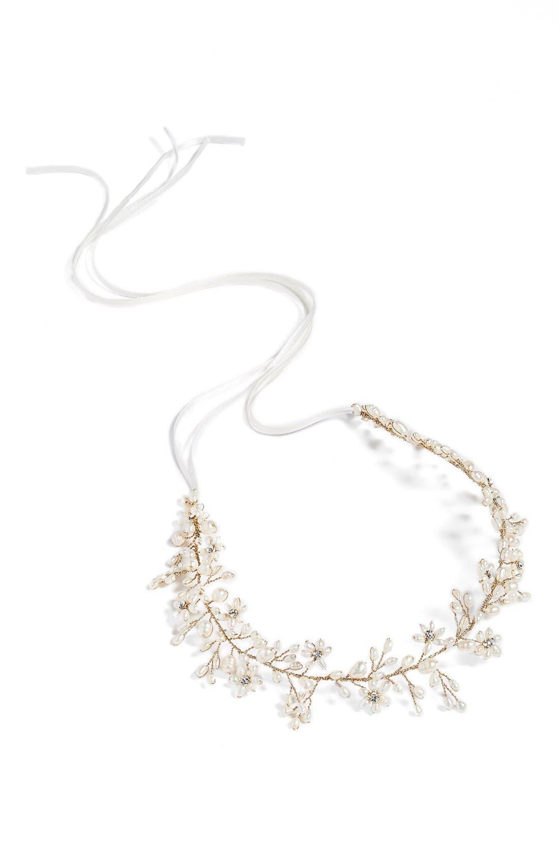 Ines Pearl & Jeweled Halo & Sash,                             Alternate thumbnail 8, color,