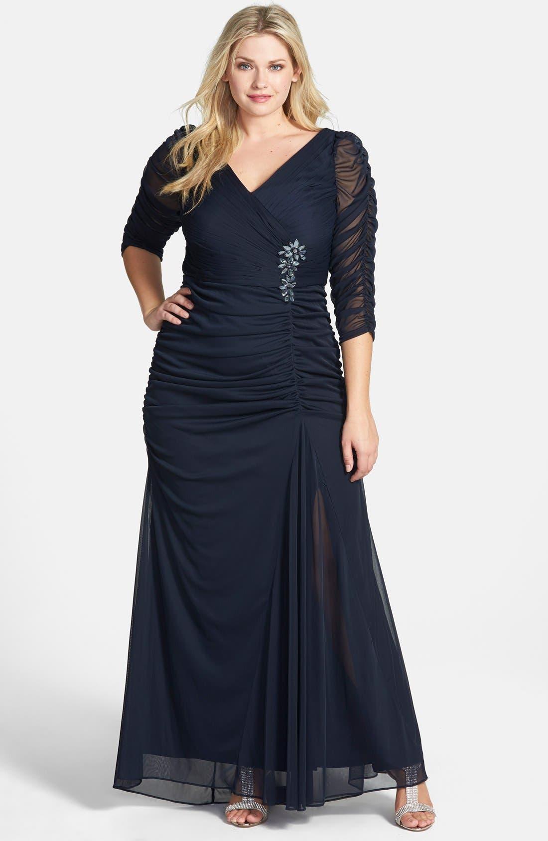 1940s Plus Size Dresses | Swing Dress, Tea Dress Plus Size Womens Adrianna Papell Beaded Mesh Gown $180.00 AT vintagedancer.com