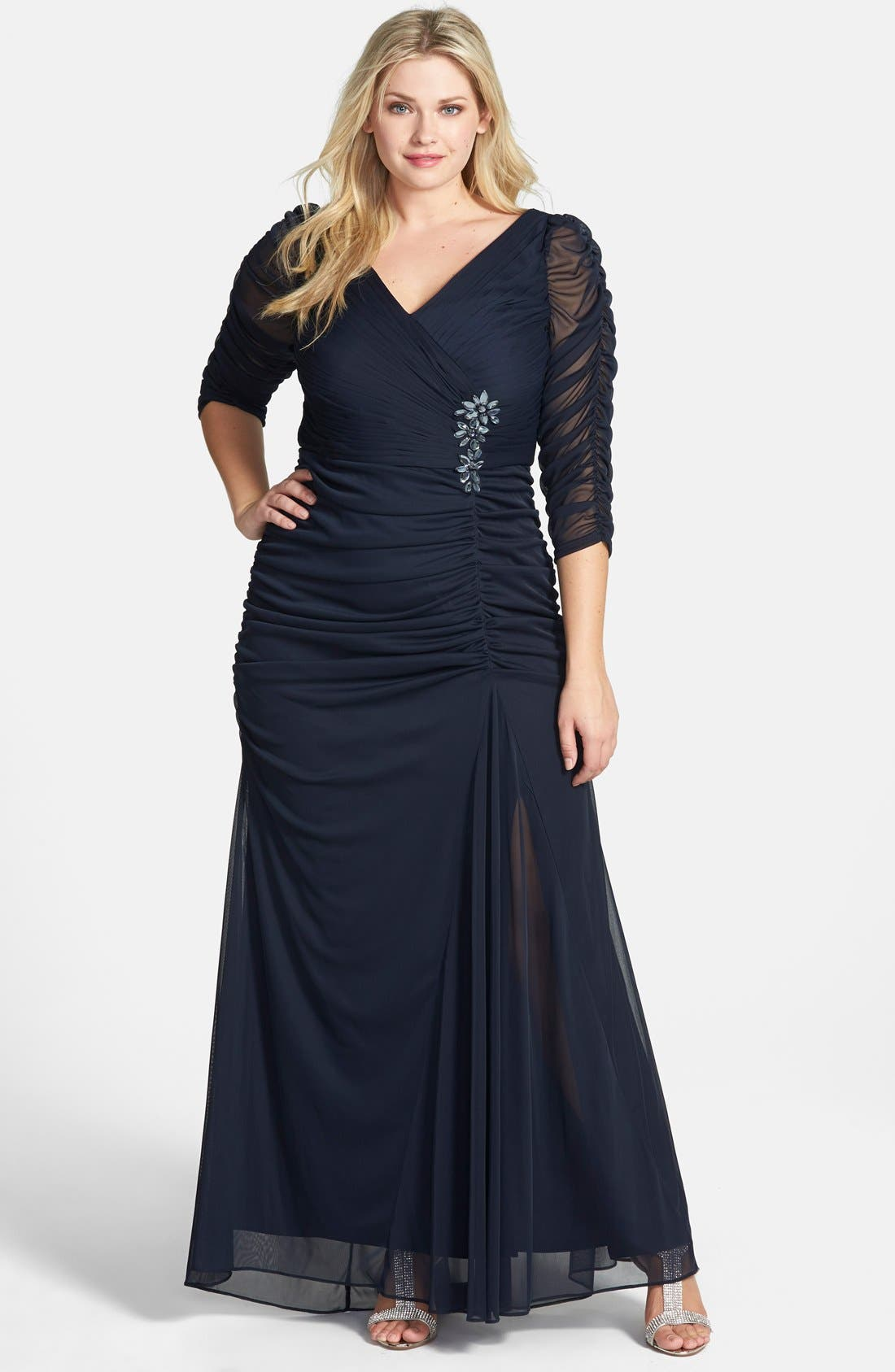 Beaded Mesh Gown,                         Main,                         color, INK
