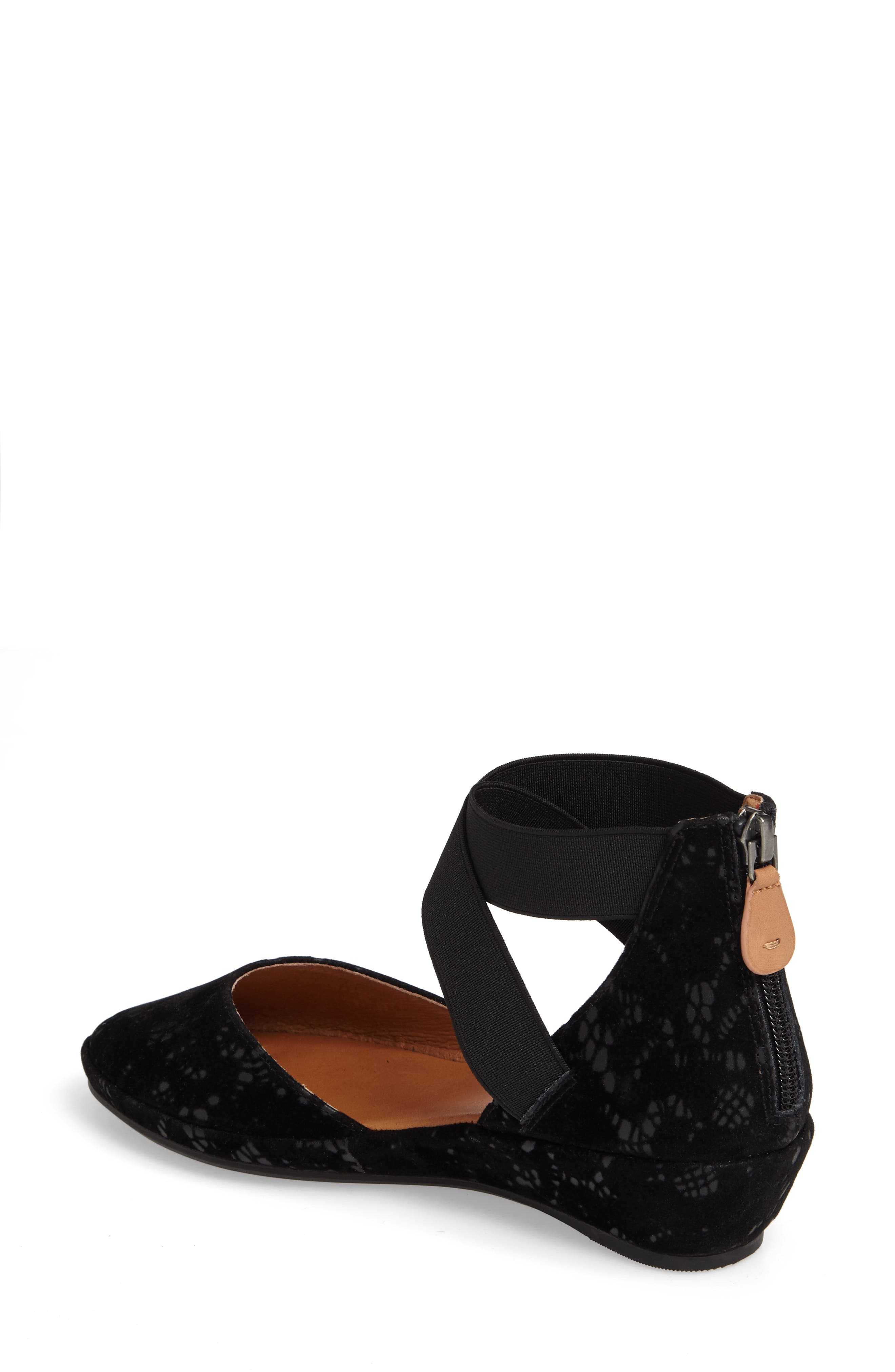 by Kenneth Cole Noa Cross Strap Wedge,                             Alternate thumbnail 2, color,                             BLACK TEXTURED LEATHER