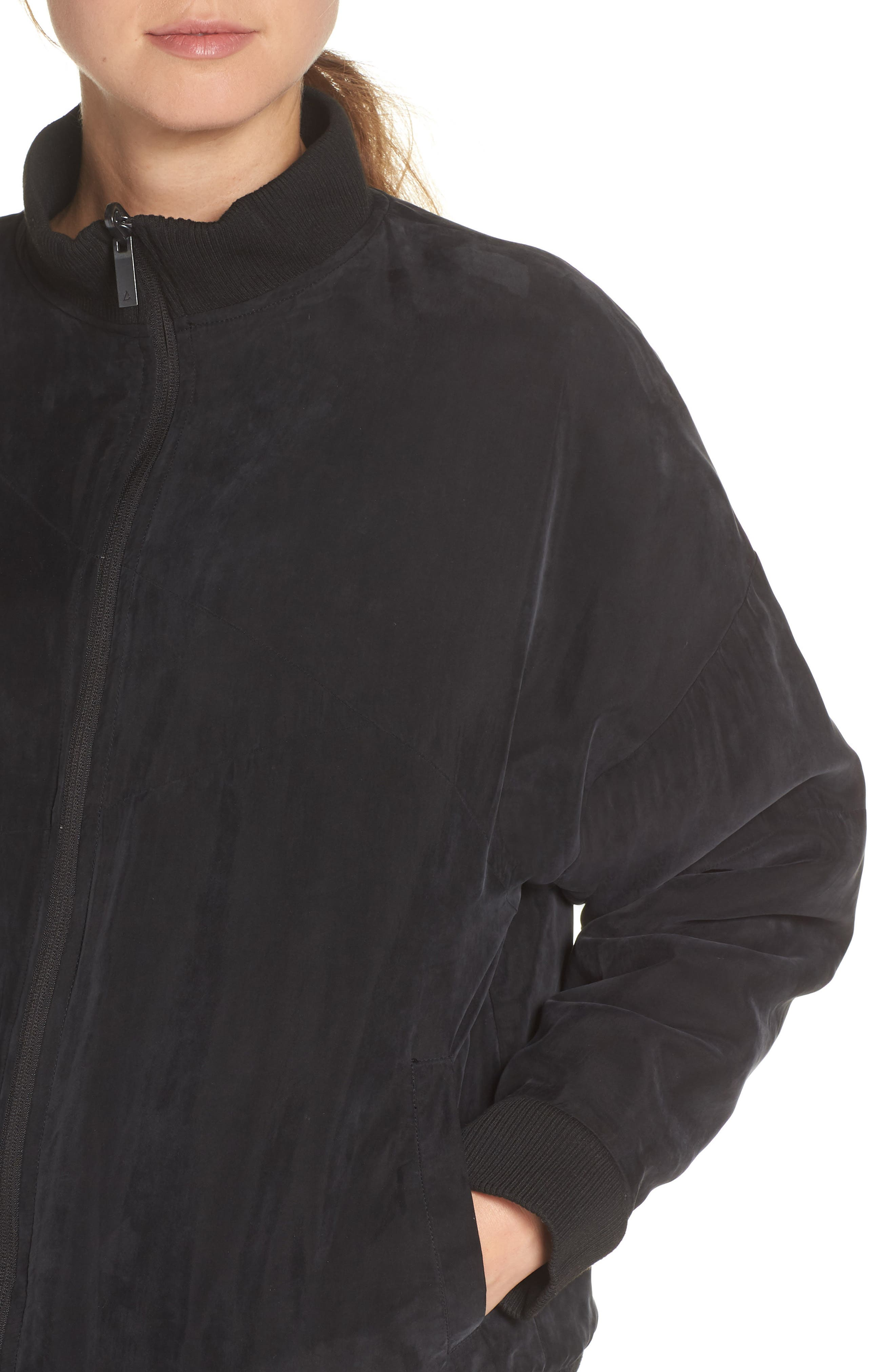 Arcs Reversible Bomber Jacket,                             Alternate thumbnail 6, color,                             BLACK