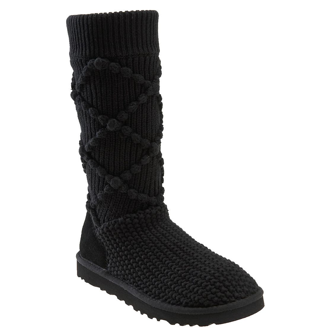 UGG<SUP>®</SUP> Australia 'Classic Argyle' Sweater Knit Boot, Main, color, 001