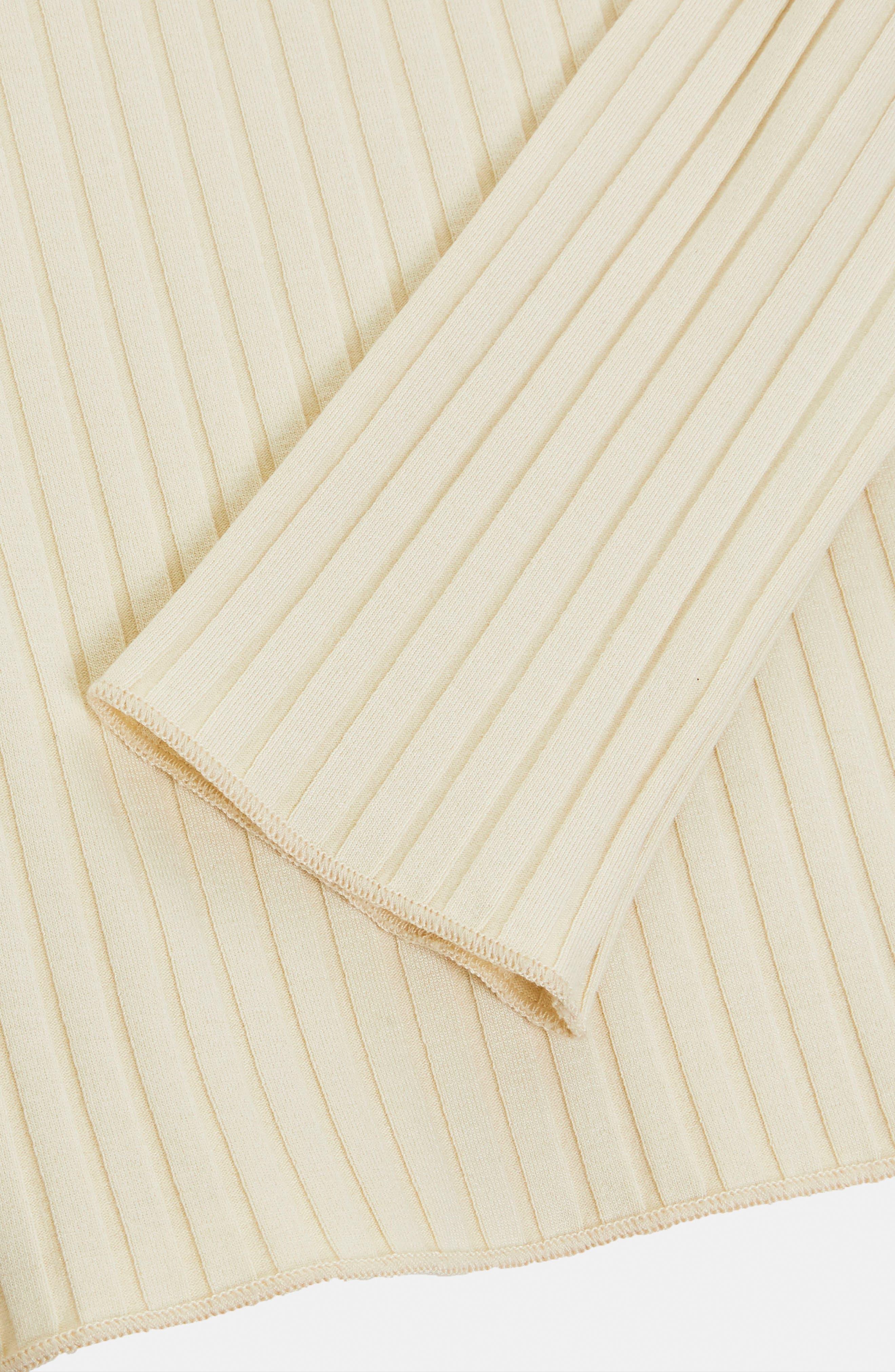 Fold Neck Rib Shirt,                             Alternate thumbnail 6, color,