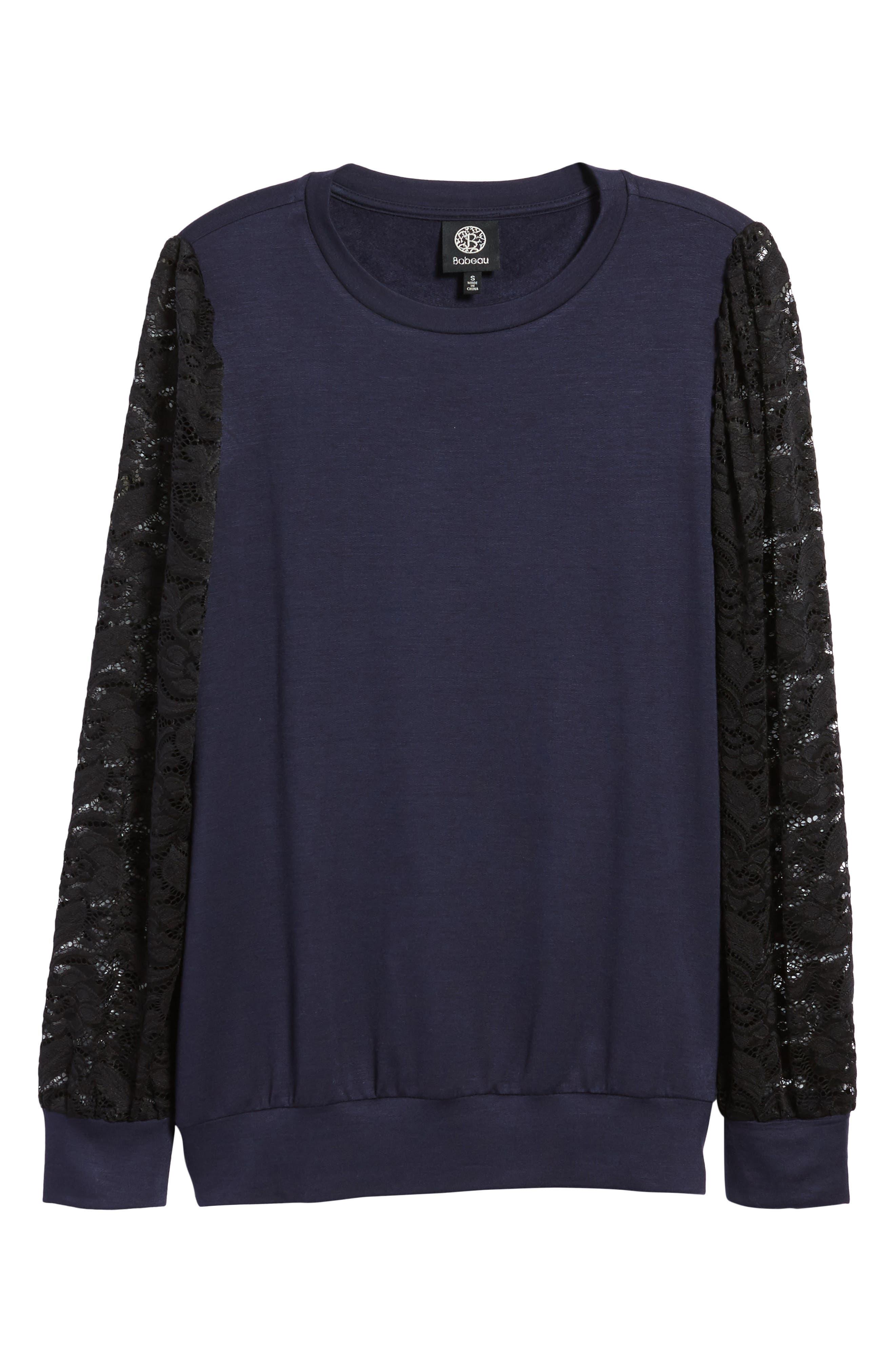 Lace Sleeve Sweatshirt,                             Alternate thumbnail 23, color,