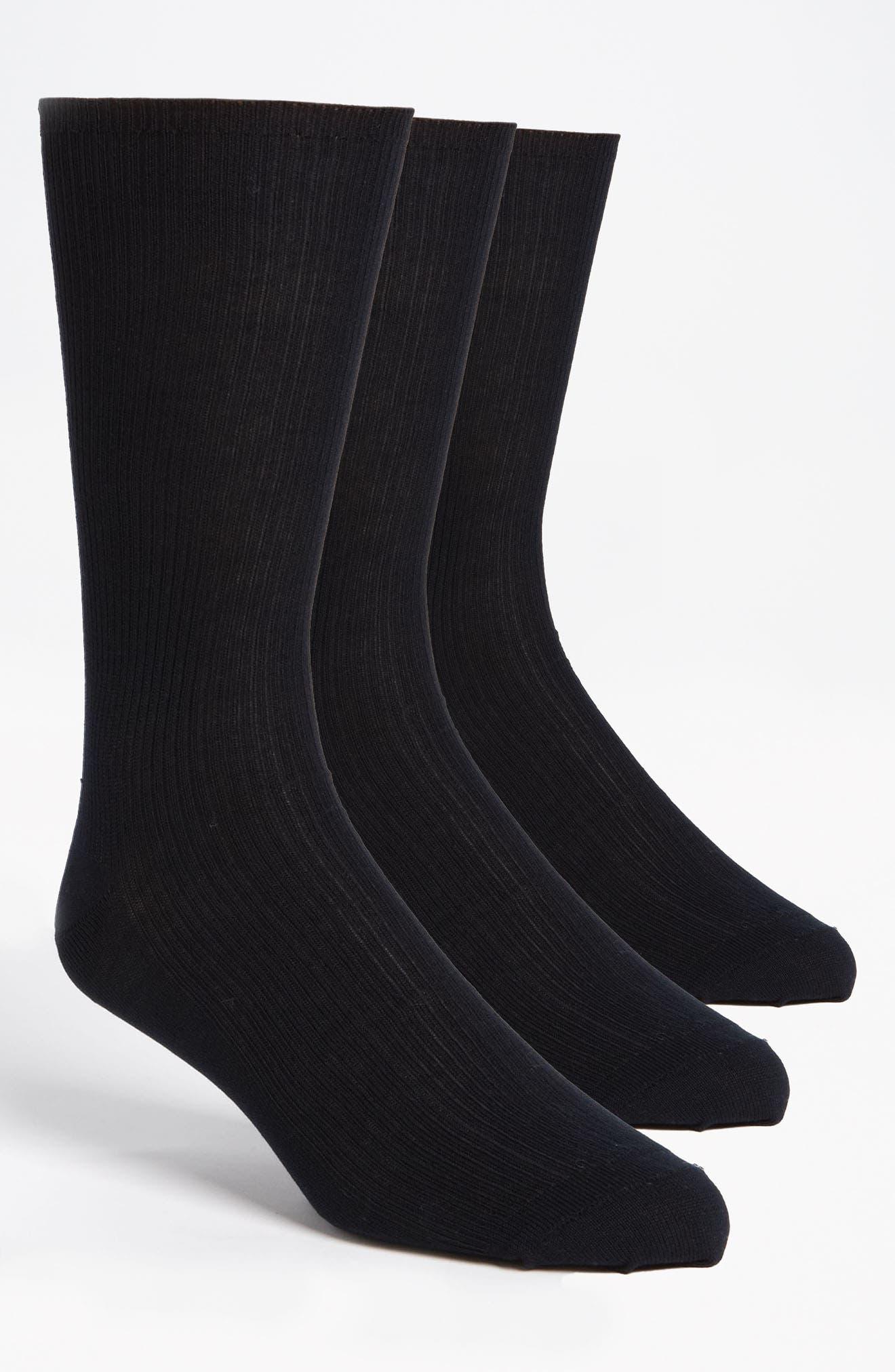 Cotton Blend Dress Socks,                             Alternate thumbnail 2, color,                             NAVY