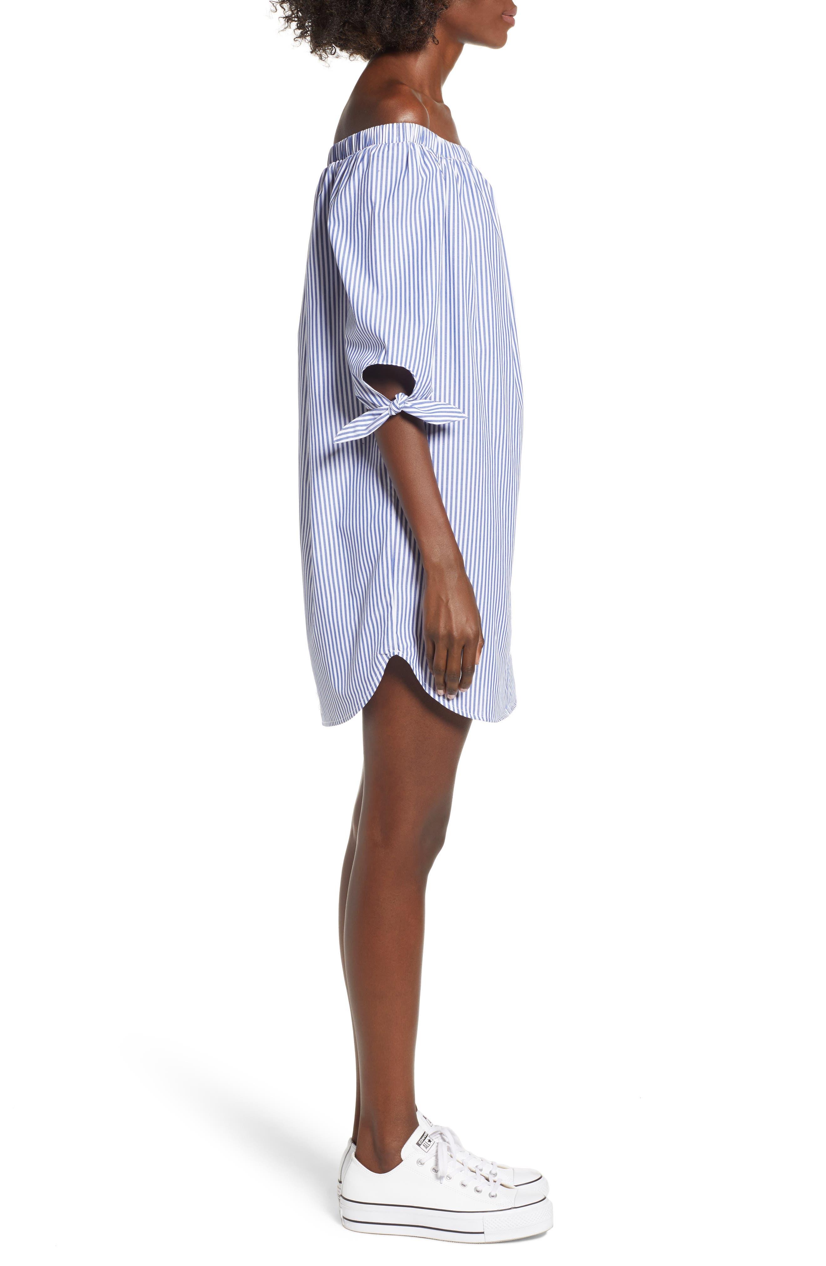 Stripe Off-the-shoulder Poplin Shirtdress,                             Alternate thumbnail 3, color,                             400