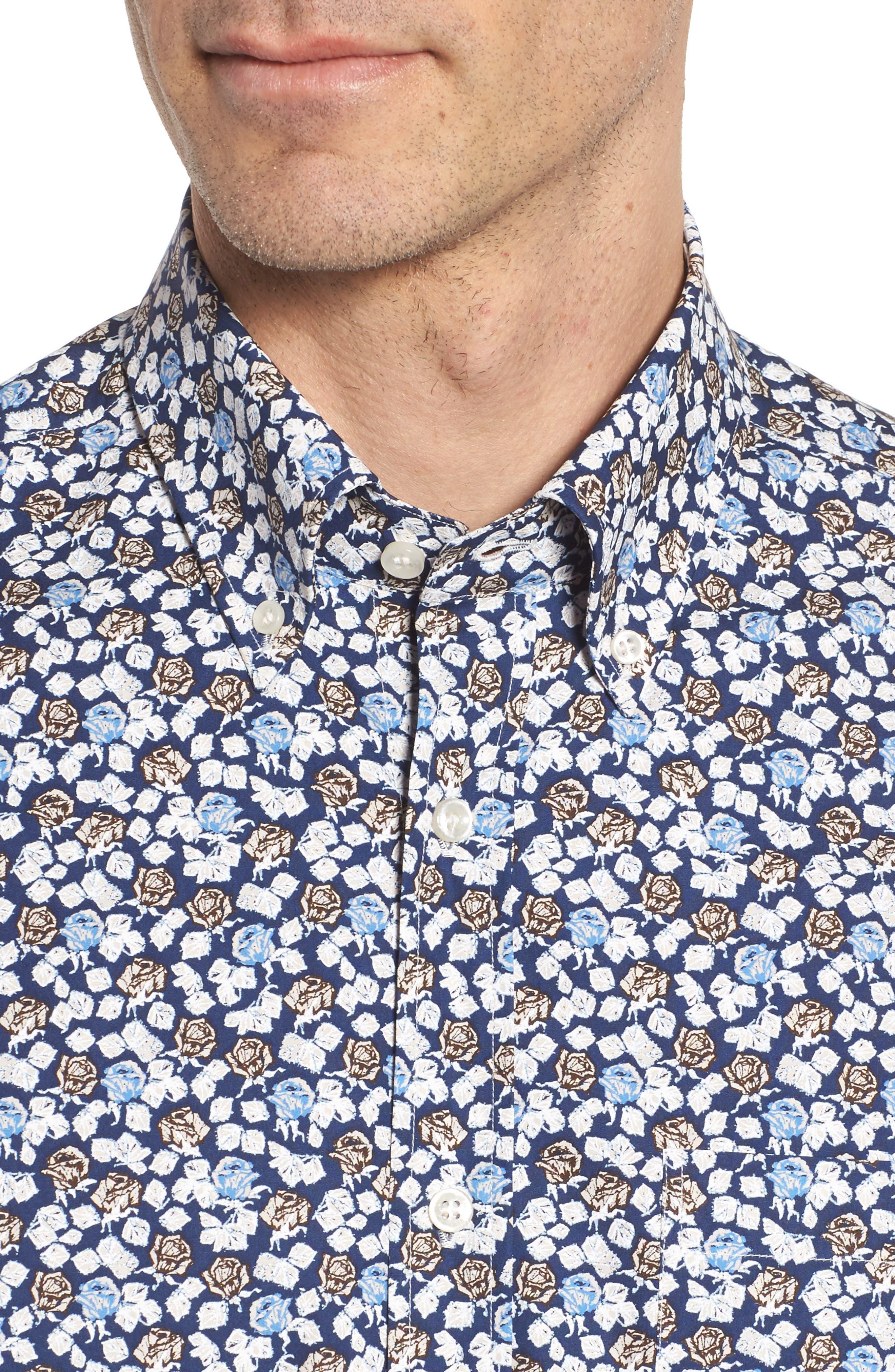 Paul&Shark Regular Fit Floral Sport Shirt,                             Alternate thumbnail 4, color,
