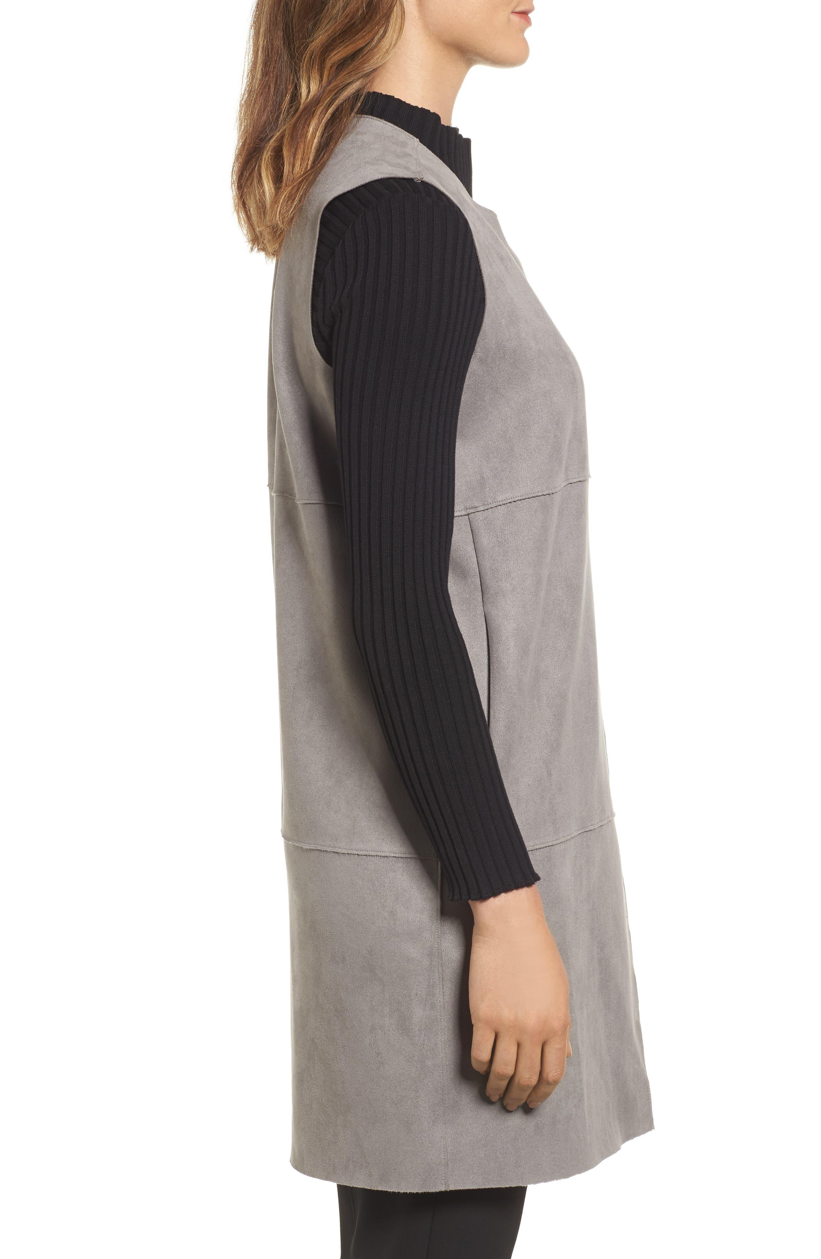 Asymmetrical Faux Suede Vest,                             Alternate thumbnail 3, color,