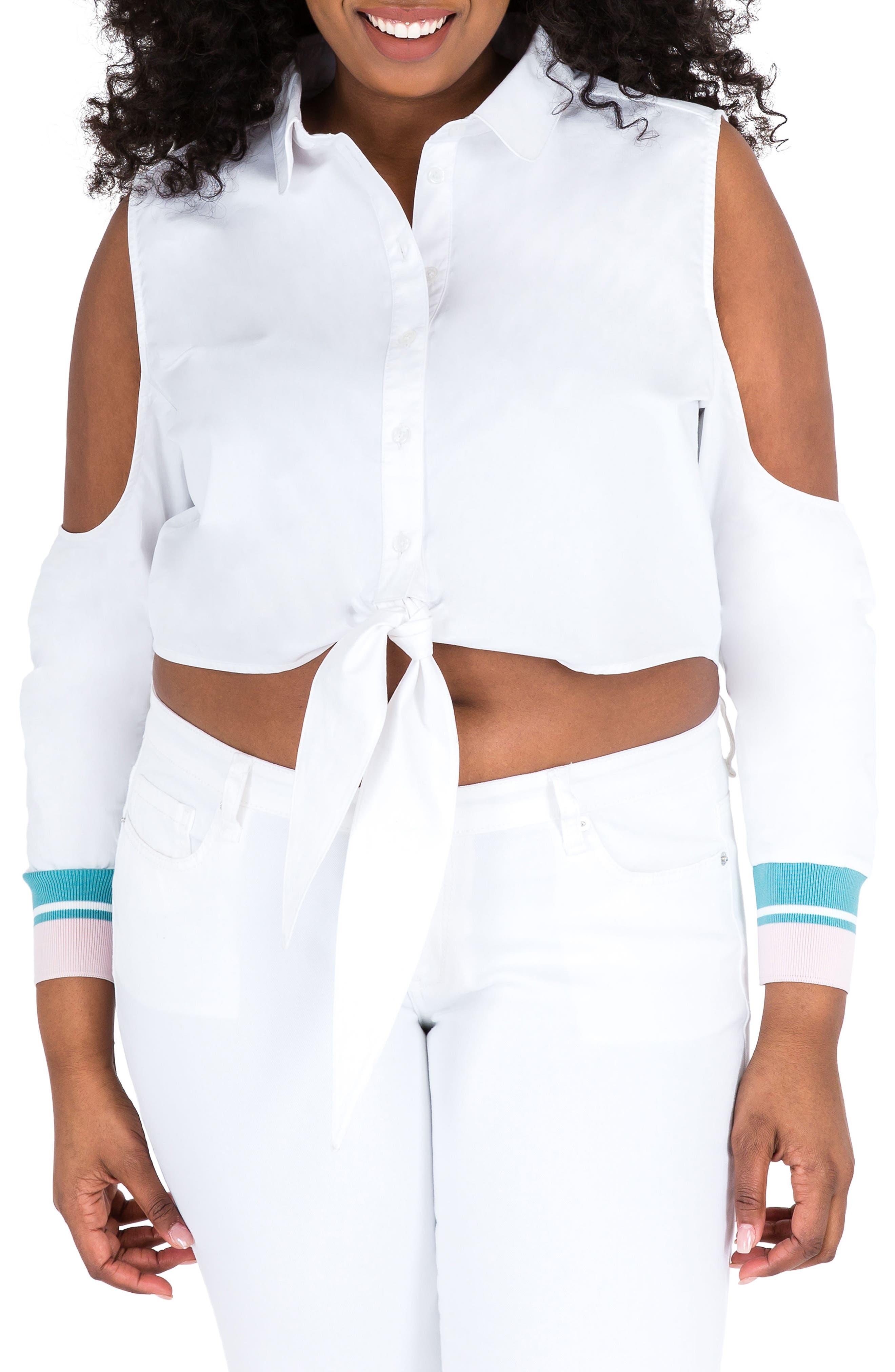 Prianca Cold Shoulder Poplin Top,                         Main,                         color, WHITE