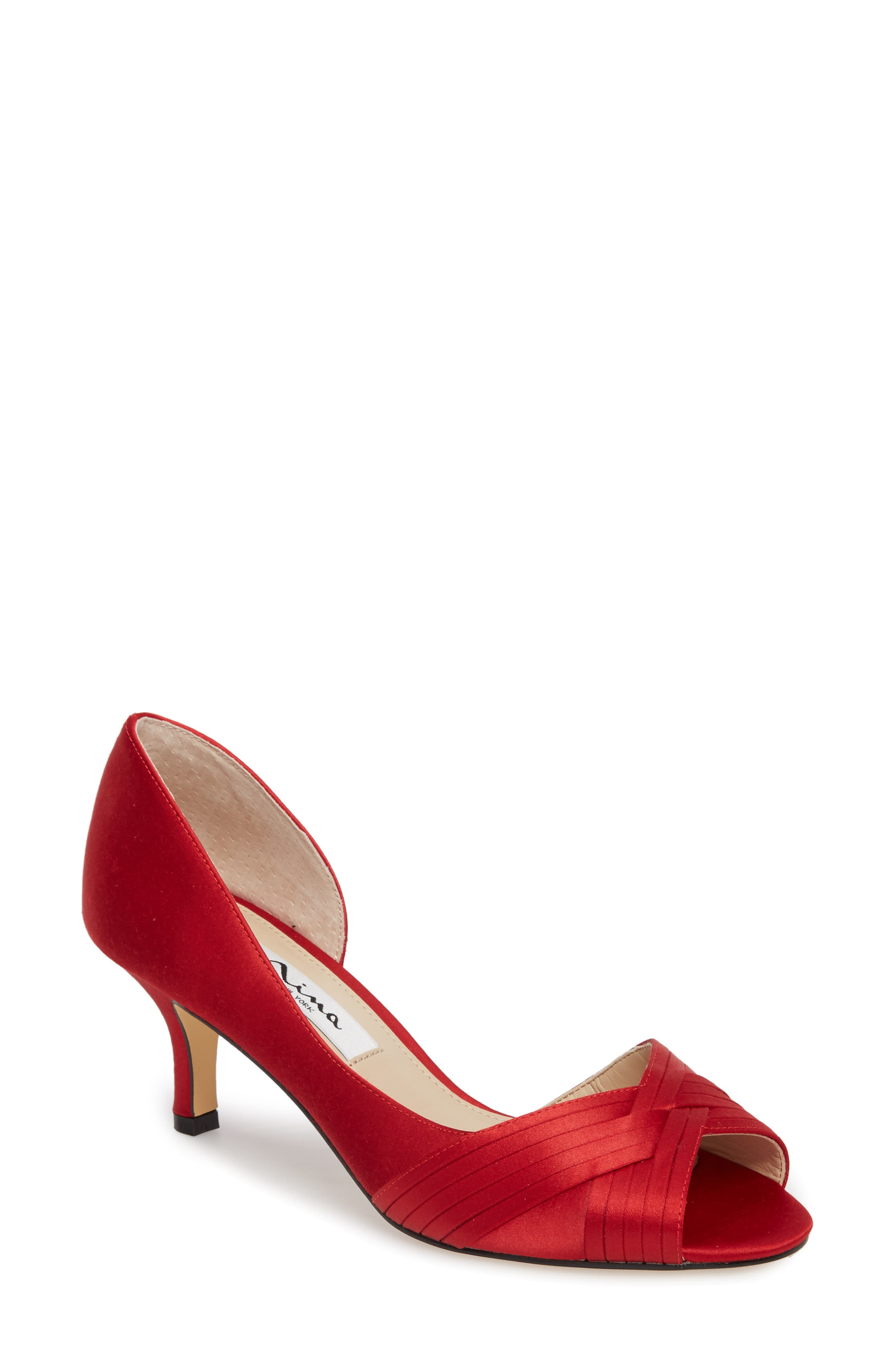 Contesa Open Toe Pump,                             Main thumbnail 1, color,                             RED SATIN