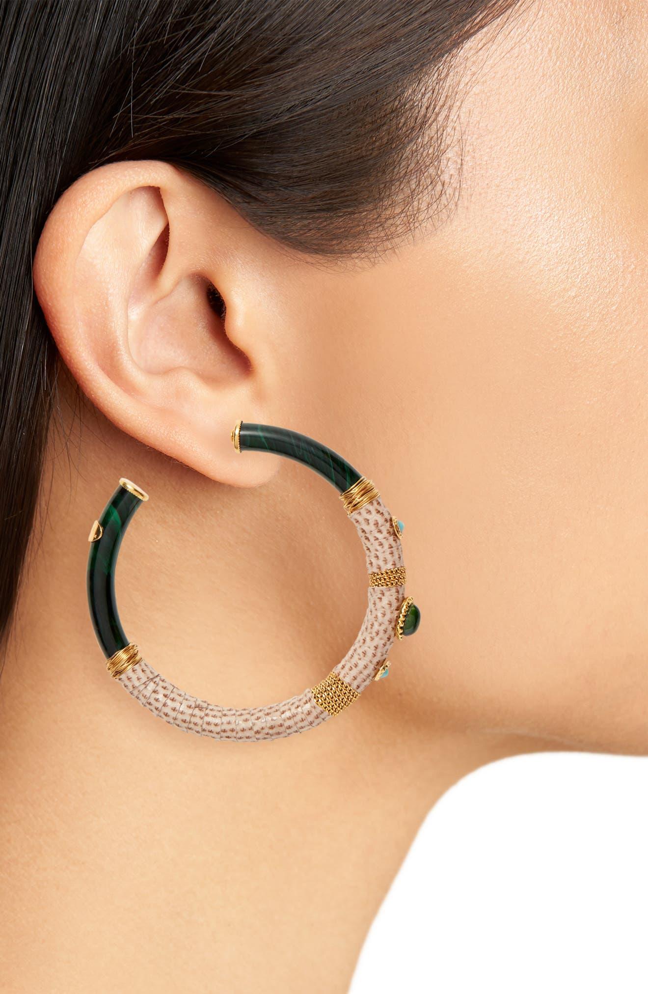 Comporta Genuine Snakeskin Wrapped Hoop Earrings,                             Alternate thumbnail 2, color,                             PURPLE