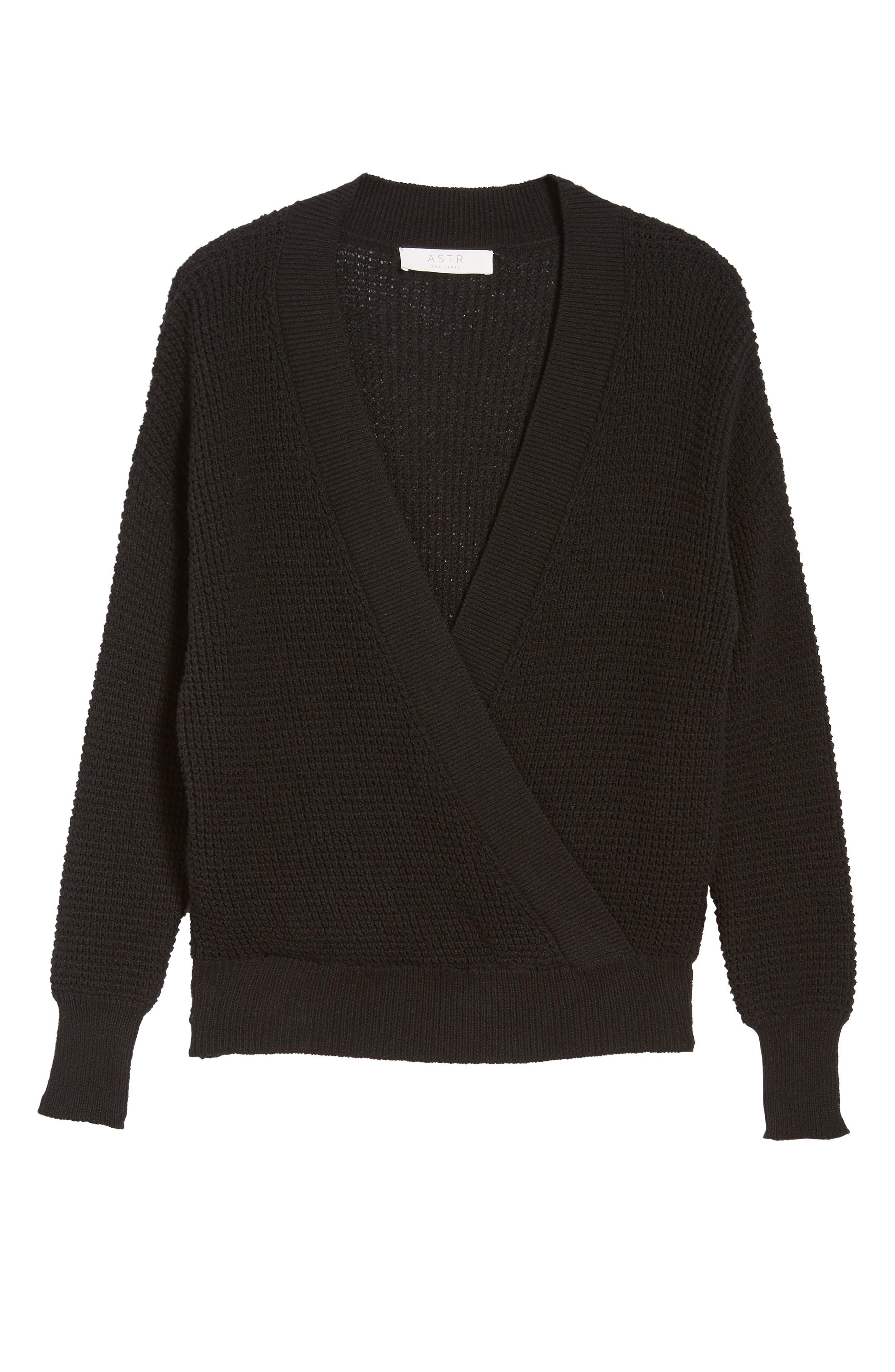 Stephanie Surplice Sweater,                             Alternate thumbnail 6, color,                             001
