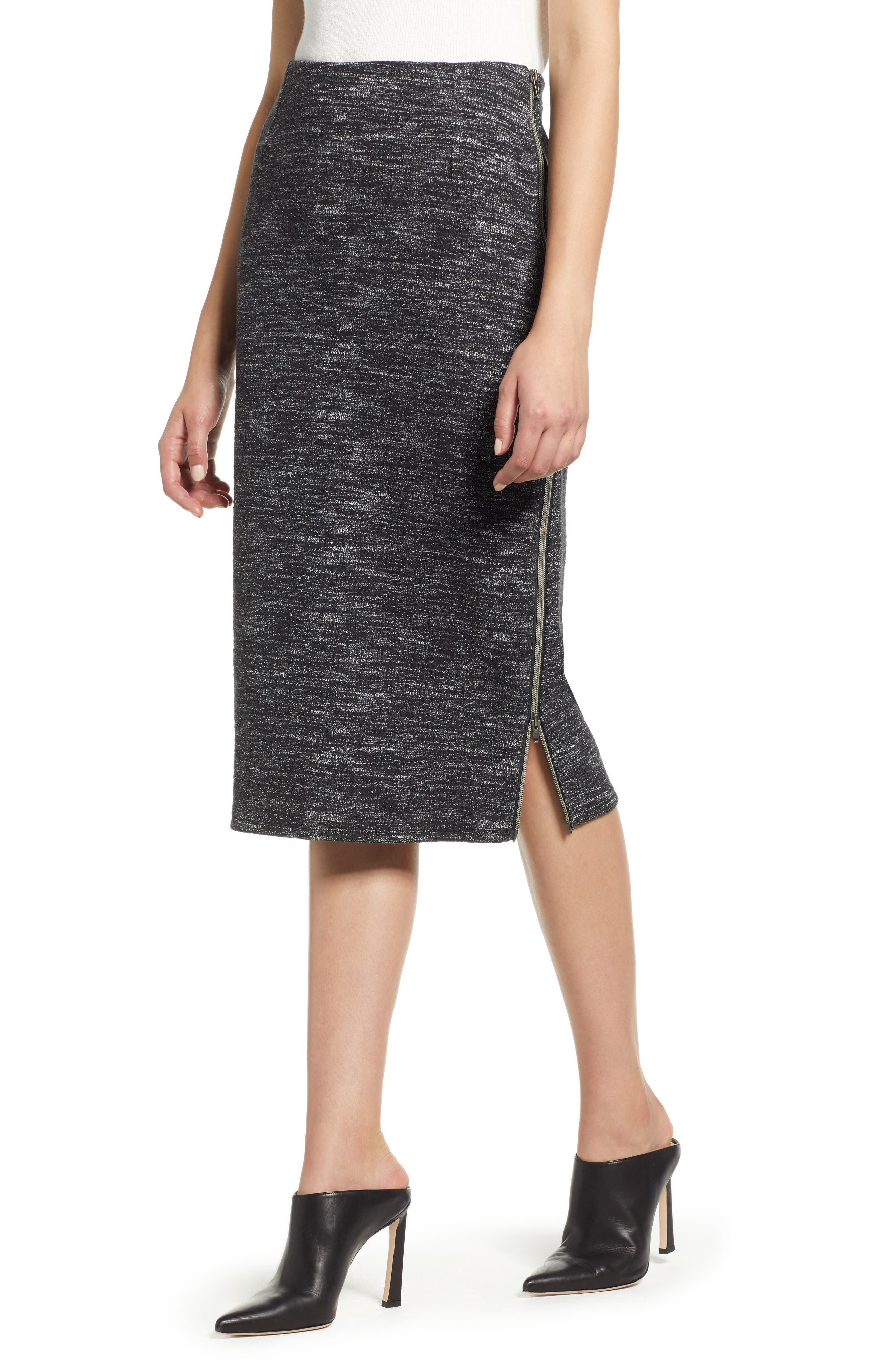 Side Zip Ponte Pencil Skirt,                             Main thumbnail 1, color,                             001
