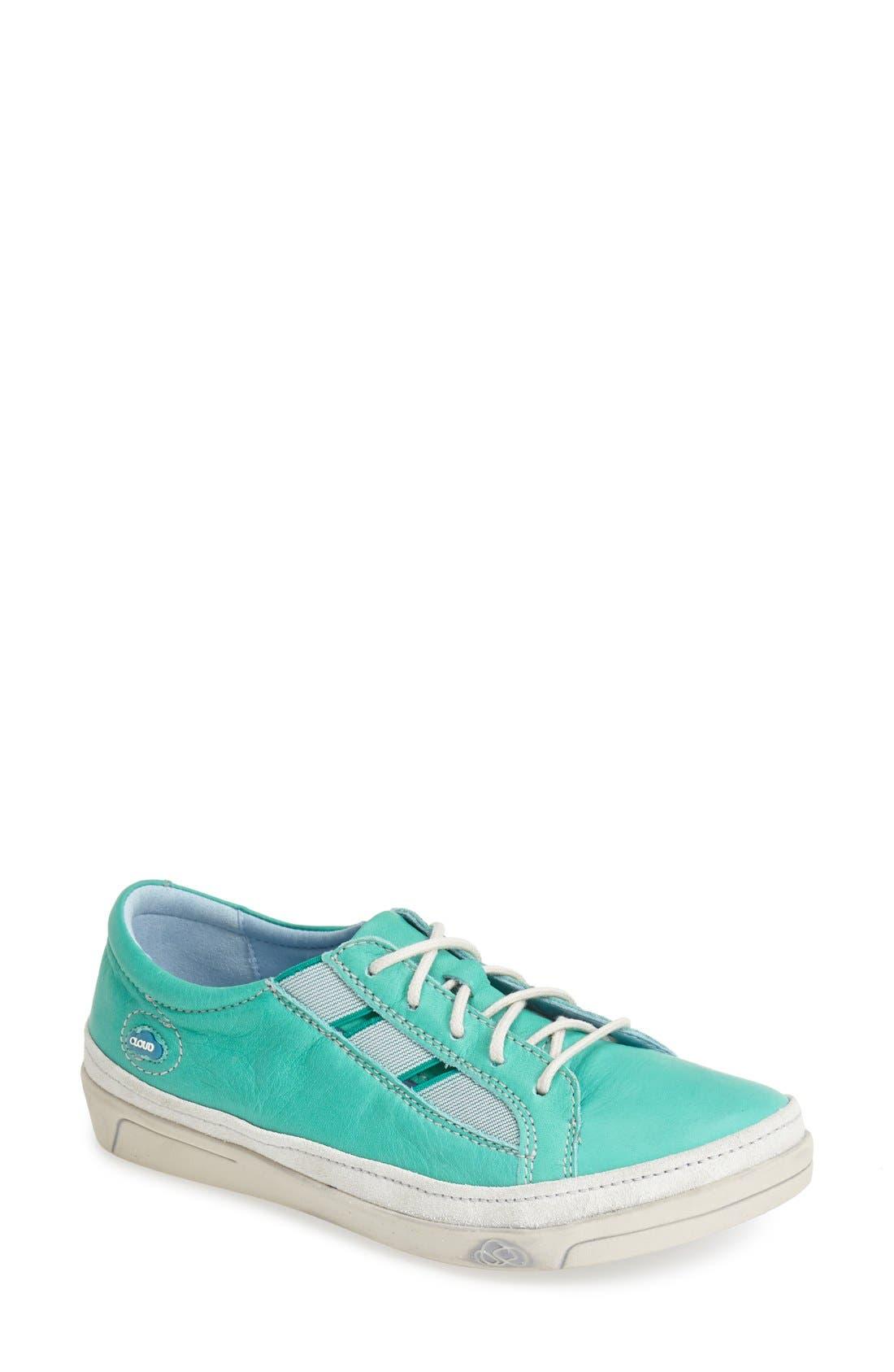 'Amazonas' Leather Sneaker,                             Main thumbnail 1, color,                             GREEN