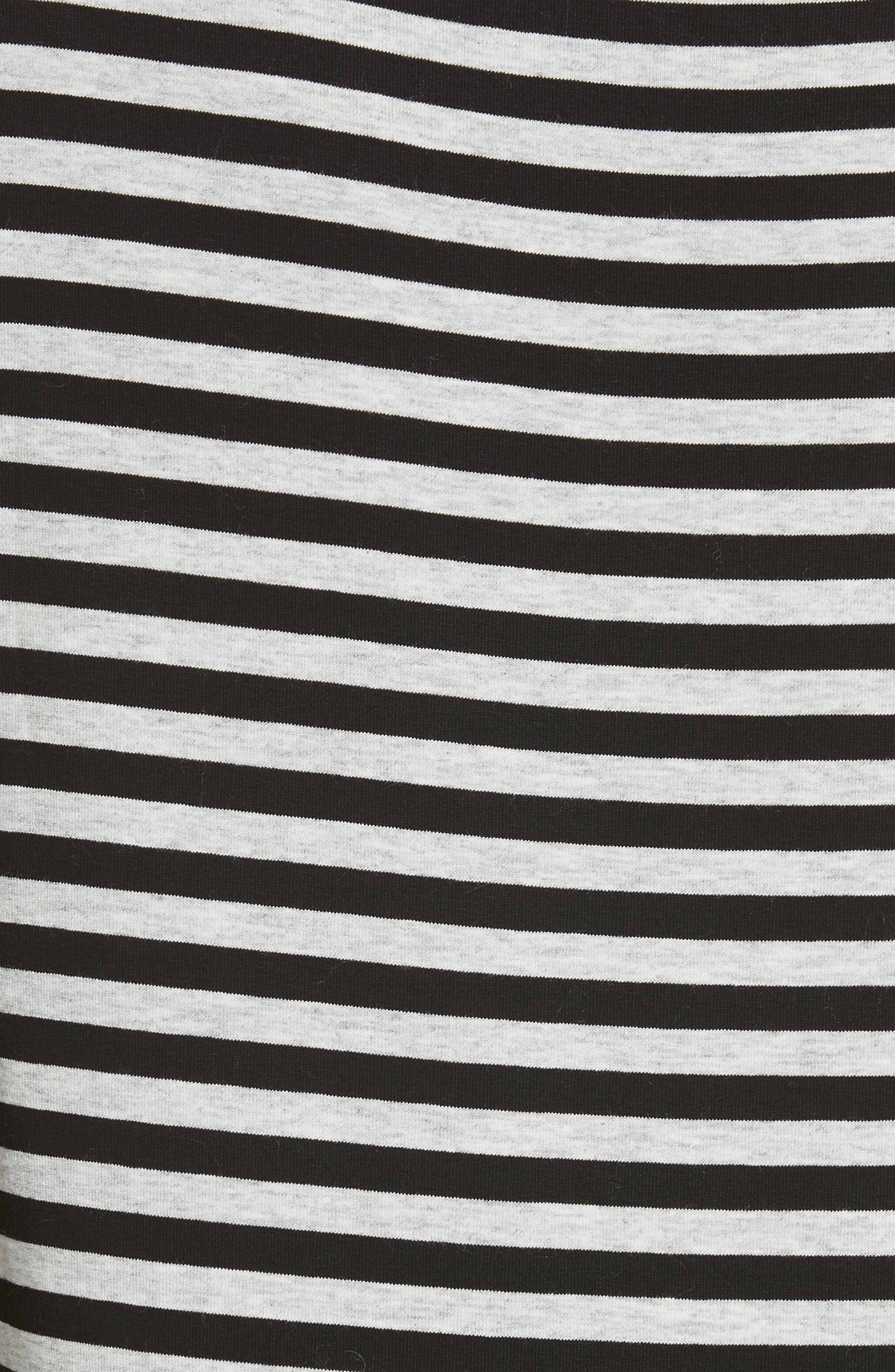 Stripe Bateau Neck Long Sleeve Tee,                             Alternate thumbnail 5, color,                             HEATHER GREY- BLACK STRIPE